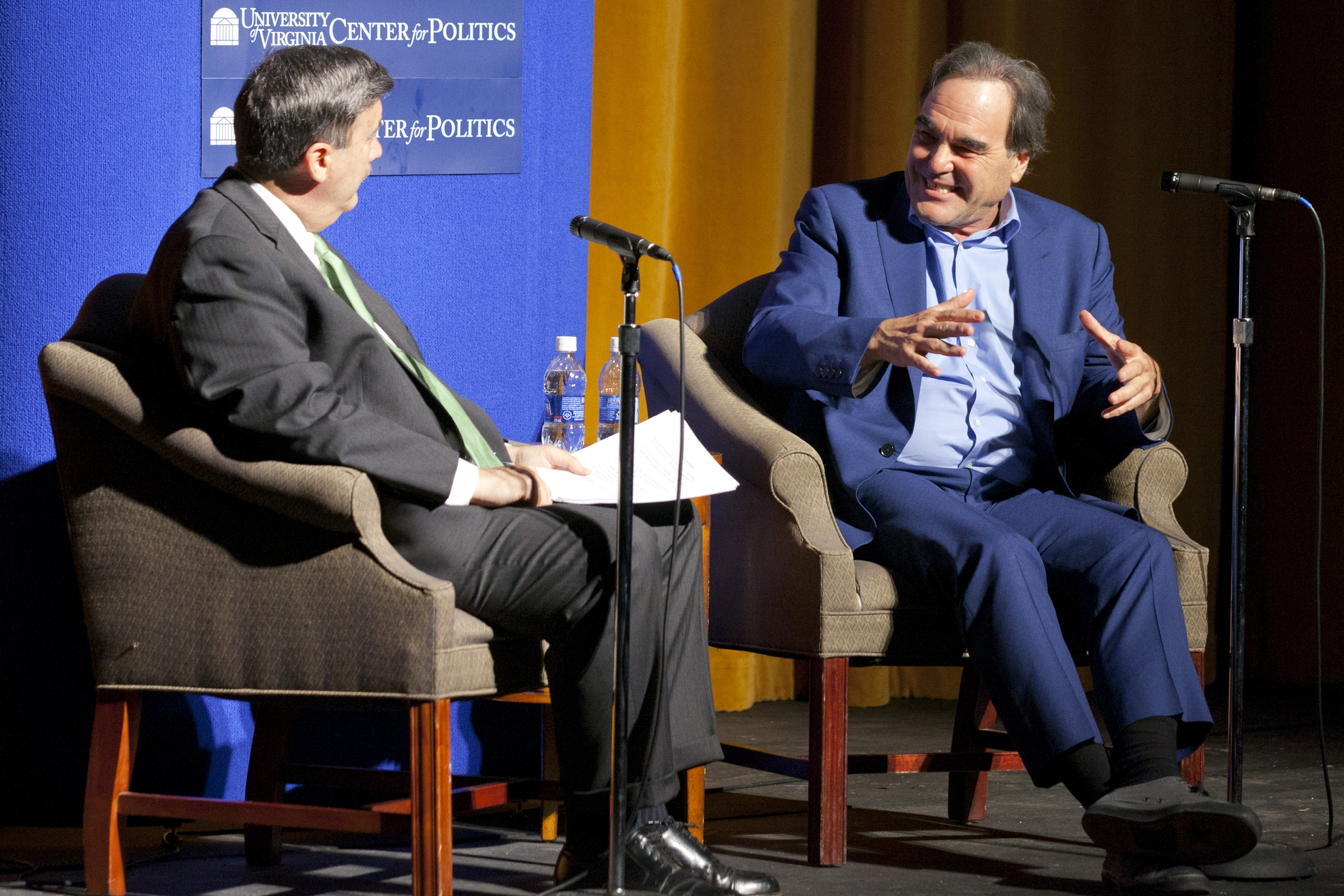 The Virginia Film Festival, running Nov. 5-8, features many UVA faculty members. Here, Center for Politics Director Larry Sabato interviews director Oliver Stone in 2011.