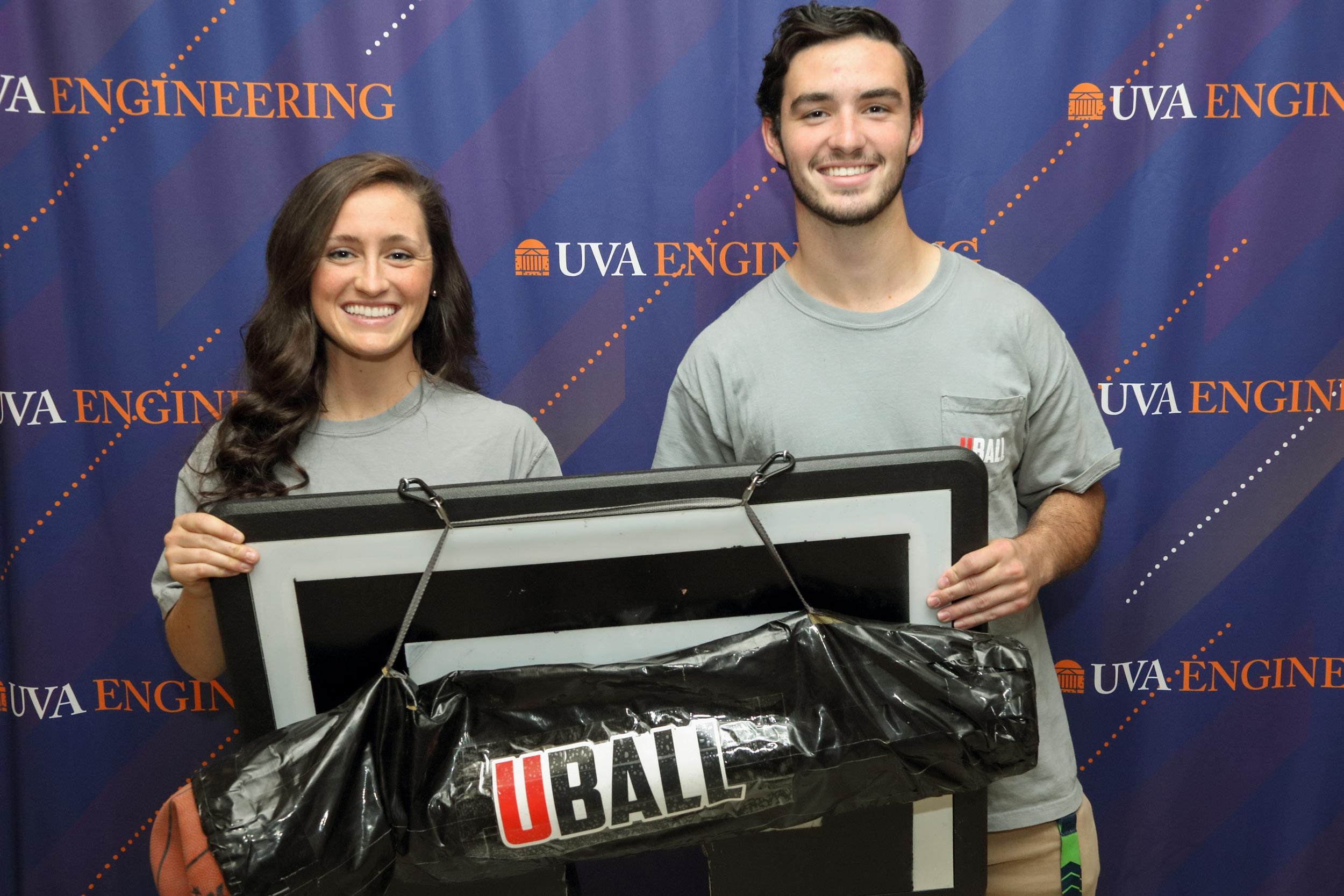 The sister-and-brother team of Molly and Tim Shields show off their creation, Uball, at Monday's Pike competition.