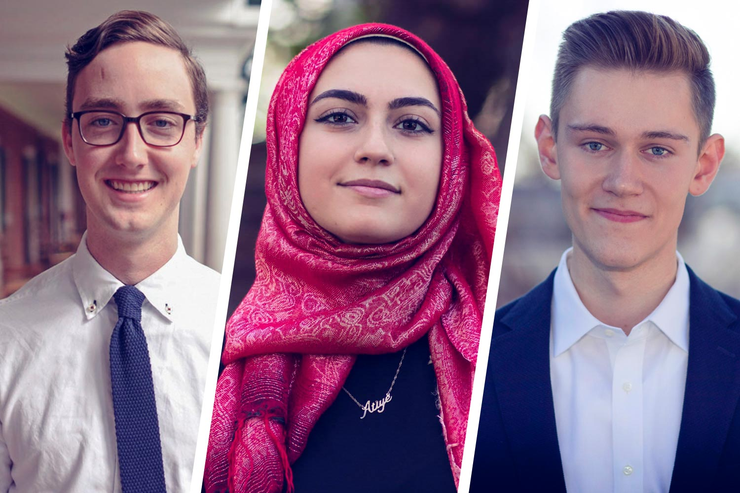 From left: 2016 graduate Porter Nenon and fourth-year students Attiya Latif and Jack Chellman will study in the United Kingdom. (Photos by Dan Addison, University Communications)