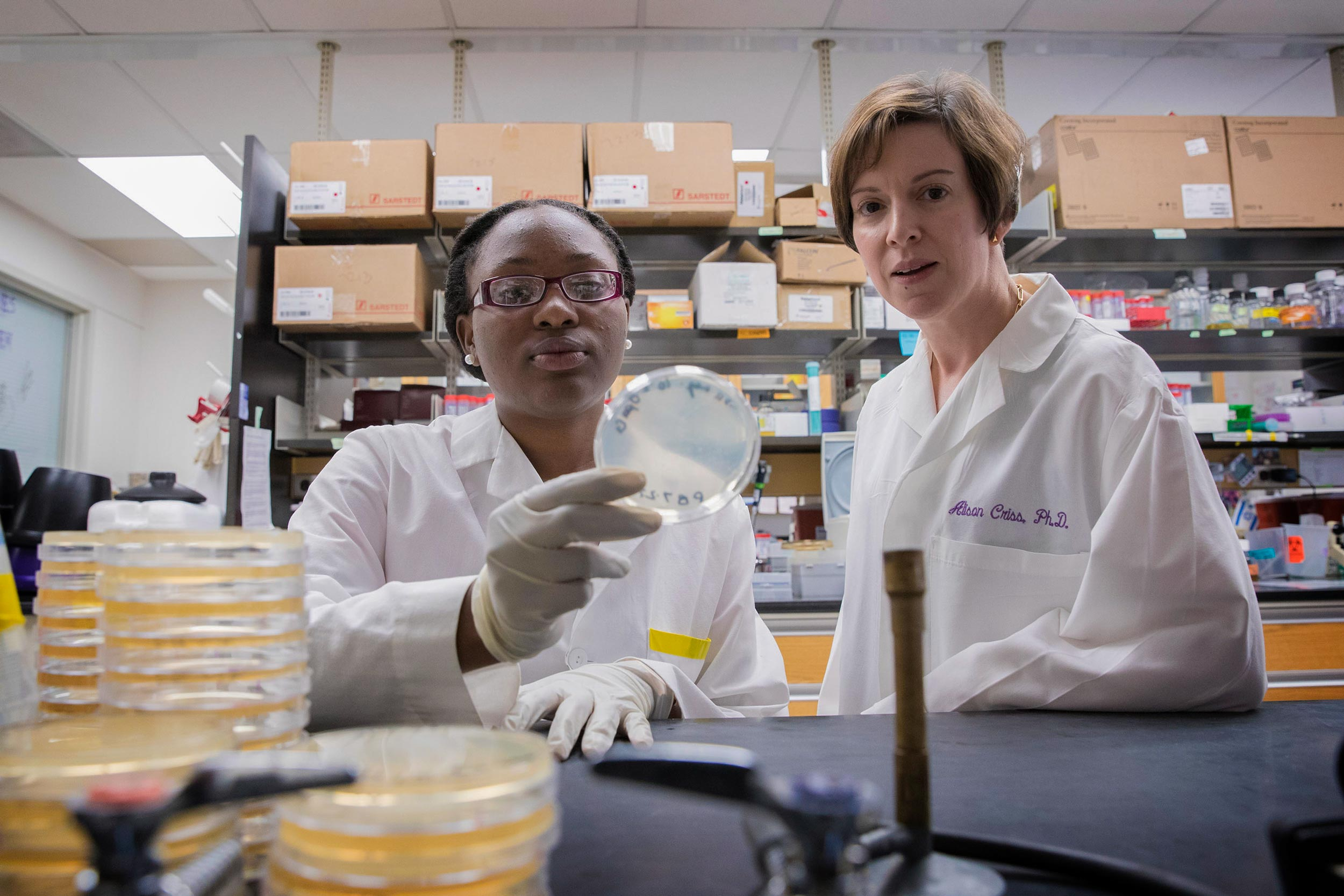 UVA biologist Alison Criss mentored Bennett College student Princess Bush, who conducted research in her lab during the summer program.