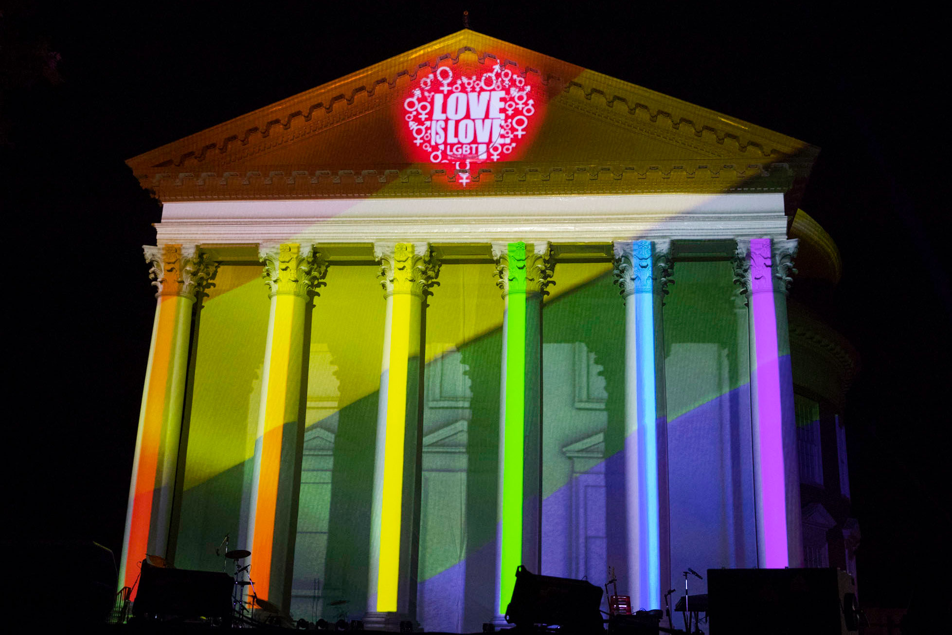 The Rotunda was awash in colors representing UVA's LGBTQ community at last year's bicentennial celebration.