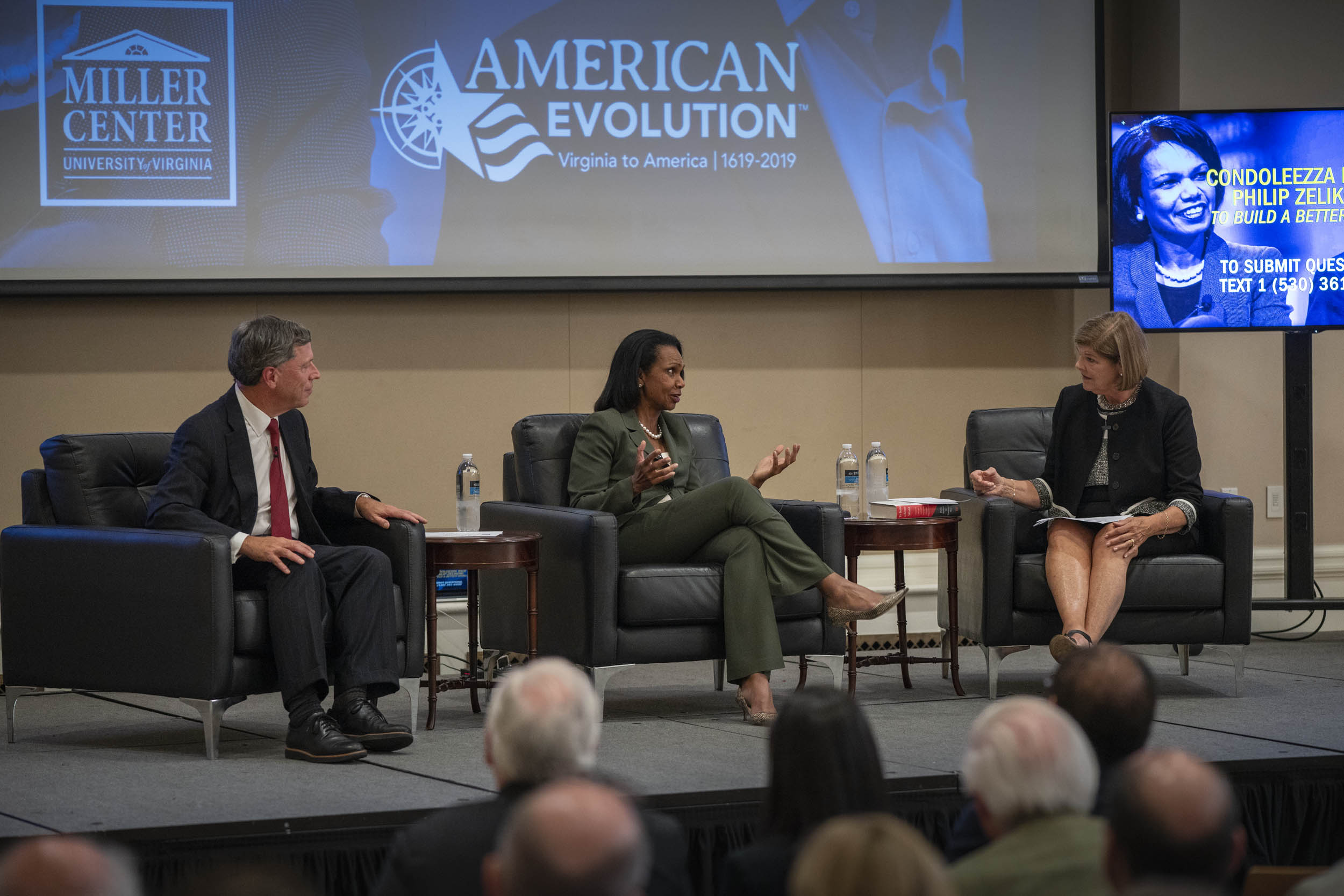 Philip Zelikow, left, Condoleezza Rice, center, and Ann Compton spoke to a large audience in Newcomb Hall on Thursday night. (Photos by Sanjay Suchak, University Communications)