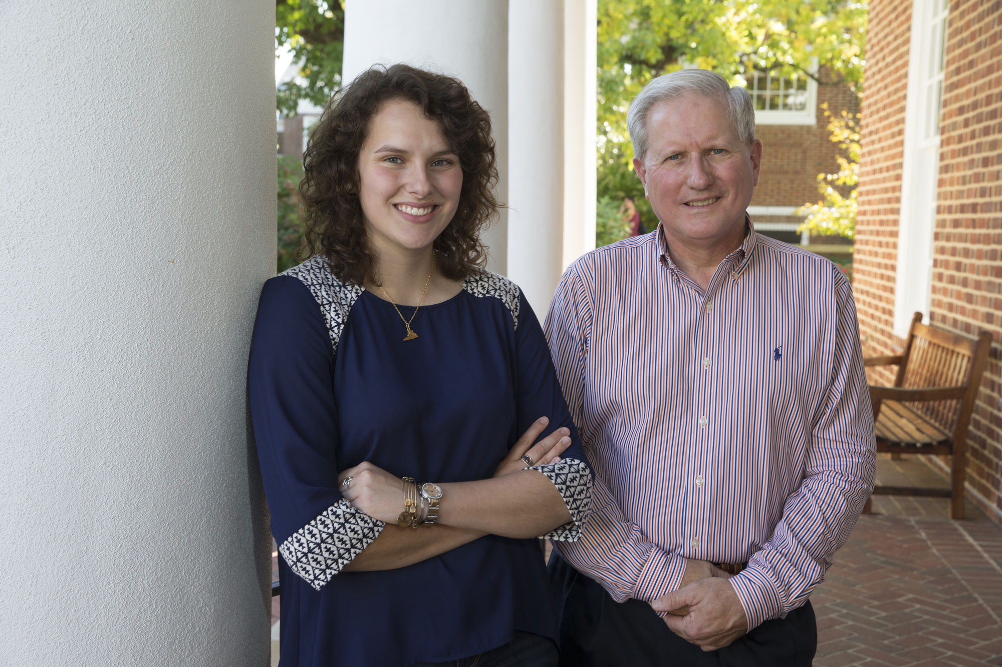 Third-year student Caroline Bauserman and attorney Roger Briney are one of many student-alumni pairs matched through the Virginia Alumni Mentoring program.