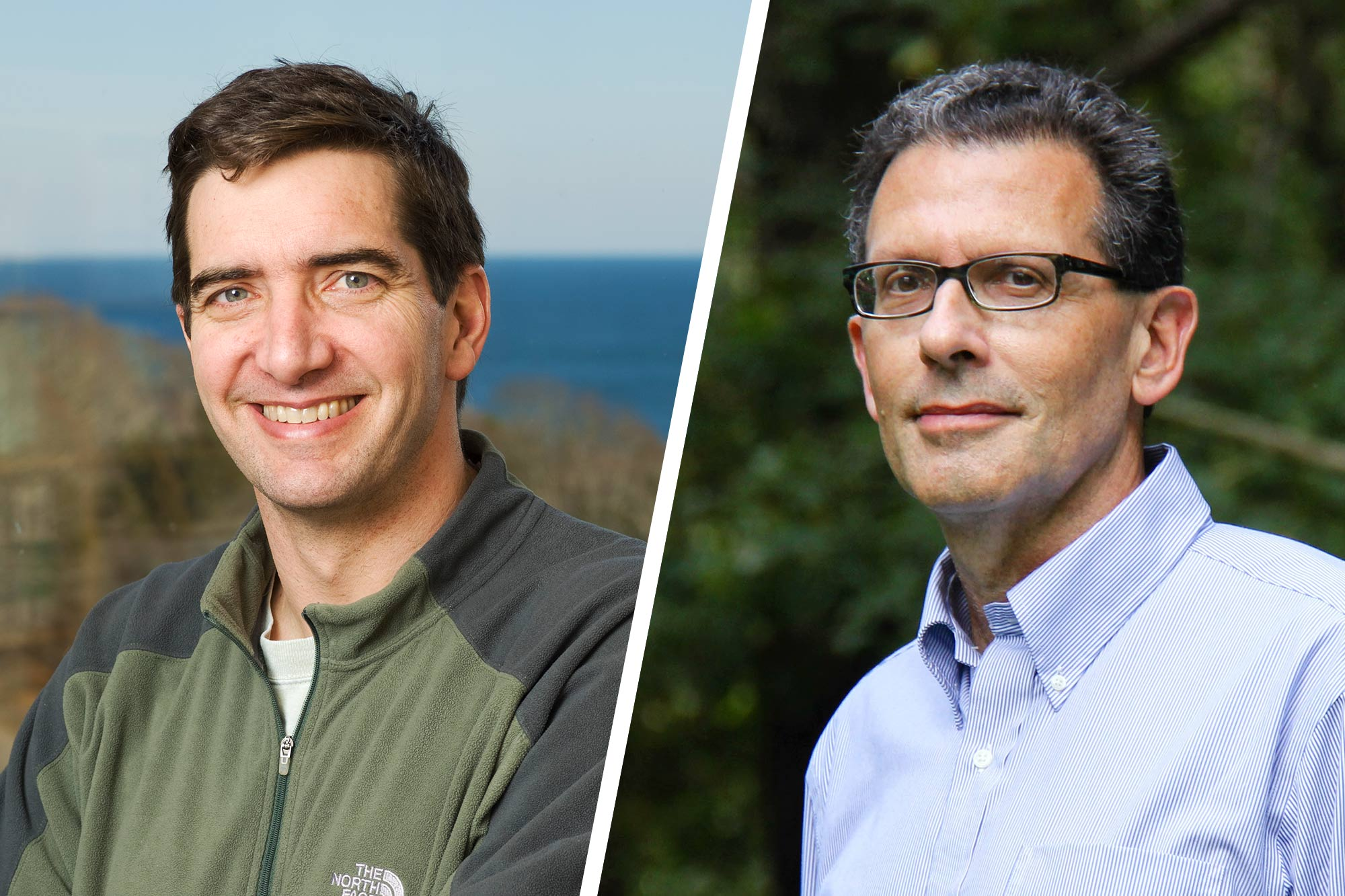Marine chemistry researcher Scott C. Doney, left, comes to UVA from the Woods Hole Oceanographic Institution. Eco-hydrologist Lawrence E. Band formerly taught and researched at the University of North Carolina-Chapel Hill.