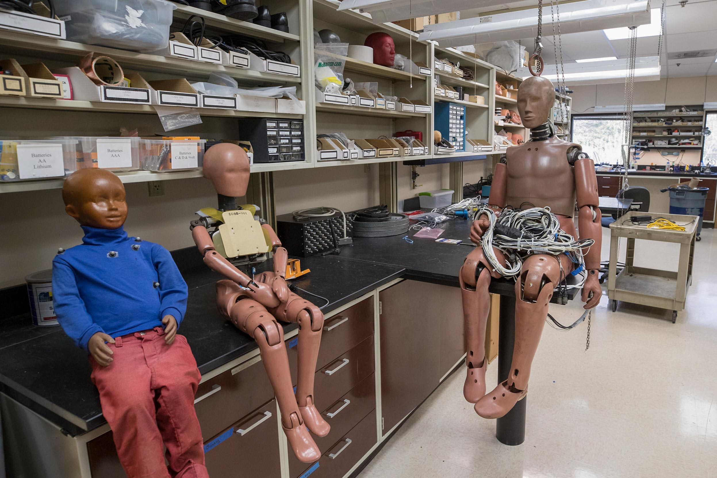 The Center for Applied Biomechanics works with a variety of crash test models to improve automobile safety.