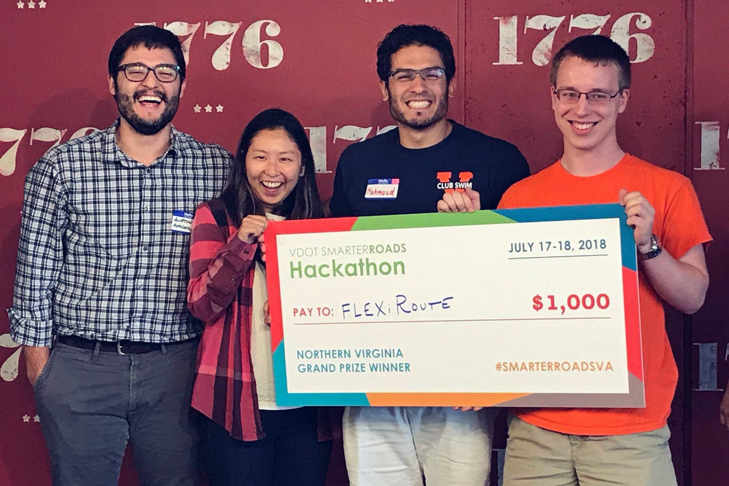 UVA students Austin Angulo, Xiaoxiao Zhang, Mahmoud Elnaggar and Wesley Daugherty won first place at the Virginia Department of Transportation's SmarterRoads Hackathon in Arlington last month. (Courtesy of VDOT)