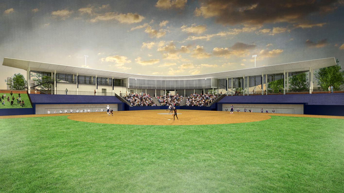 The new stadium in the heart of UVA's athletics precinct will give the softball program greater visibility and demonstrates the University's commitment to the sport. (Image by VMDO/DLR)
