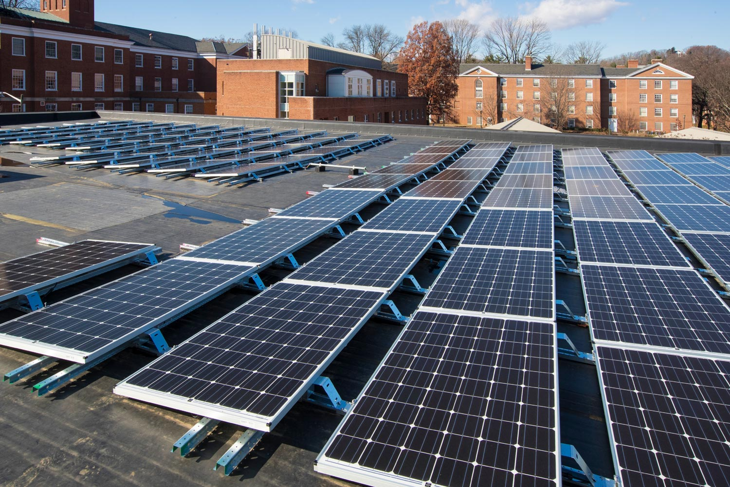 UVA generates enough solar power on Grounds to power 100 American homes for a year, with arrays atop Ruffner Hall (above), the UVA Bookstore, Clemons Library, Skipwith Hall and the Alderman Substation.