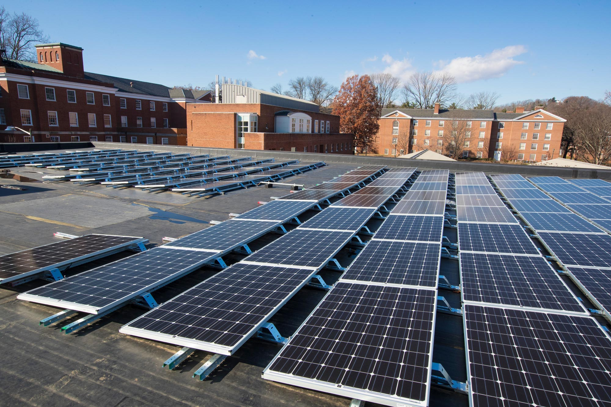 The University of Virginia draws about 20% of its electricity from solar sources.