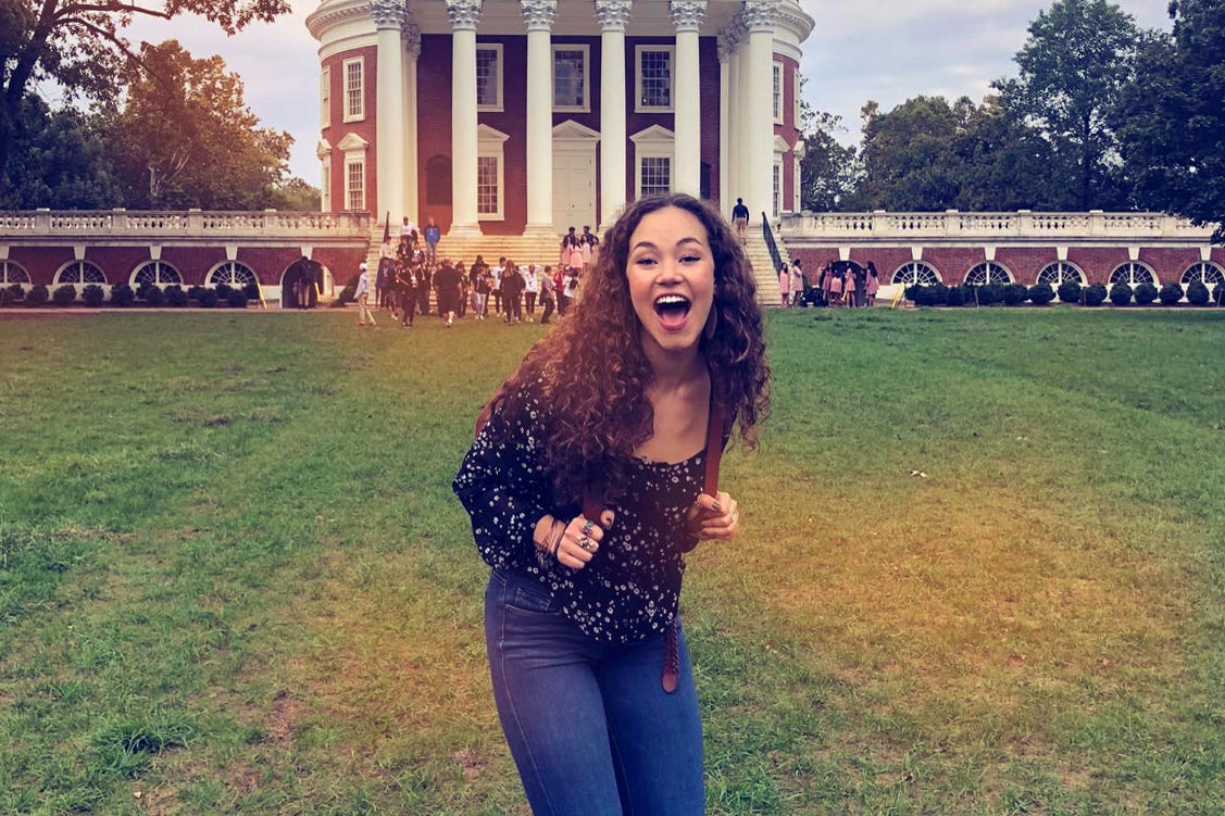 """Solea Pfeiffer, who played Eliza Hamilton in the first national tour of """"Hamilton,"""" visited the Rotunda before meeting with students."""