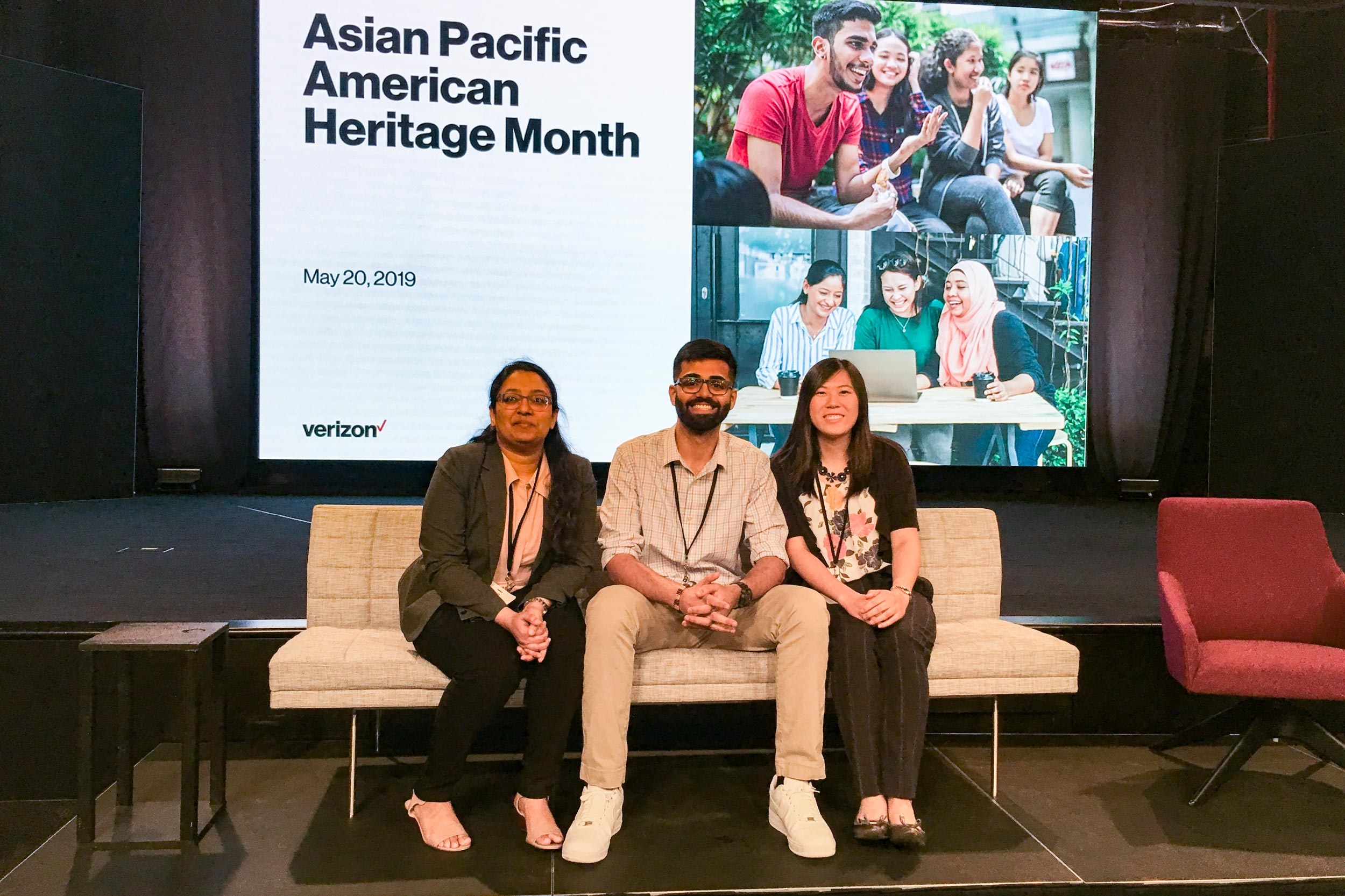 From left, Madhura Shringare, Akshay Malik and Stephanie Chen. Chen represented UVA and the National Millennial Community at a Verizon panel to discuss generational and racial stereotypes in the workforce.