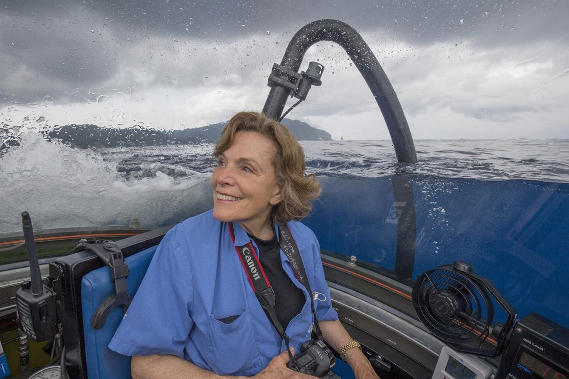 Sylvia Earle, shown here in a submarine, is president and chair of Mission Blue, a global coalition dedicated to preserving the world's oceans. (Photo by Kip Evans, Mission Blue)