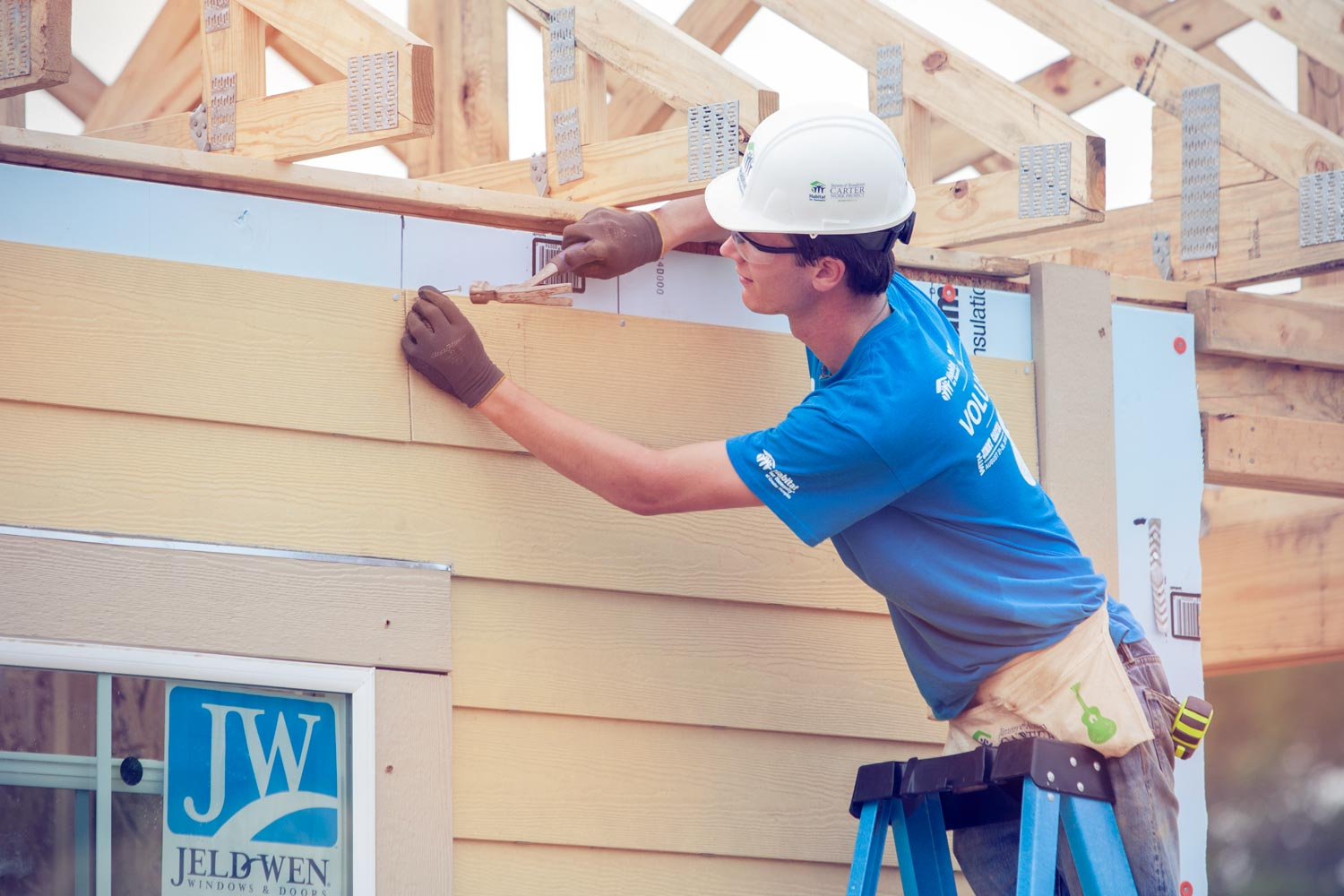 Thompson on site at the Habitat for Humanity Carter Work Project, sponsored by former President Jimmy Carter and his wife Rosalynn.