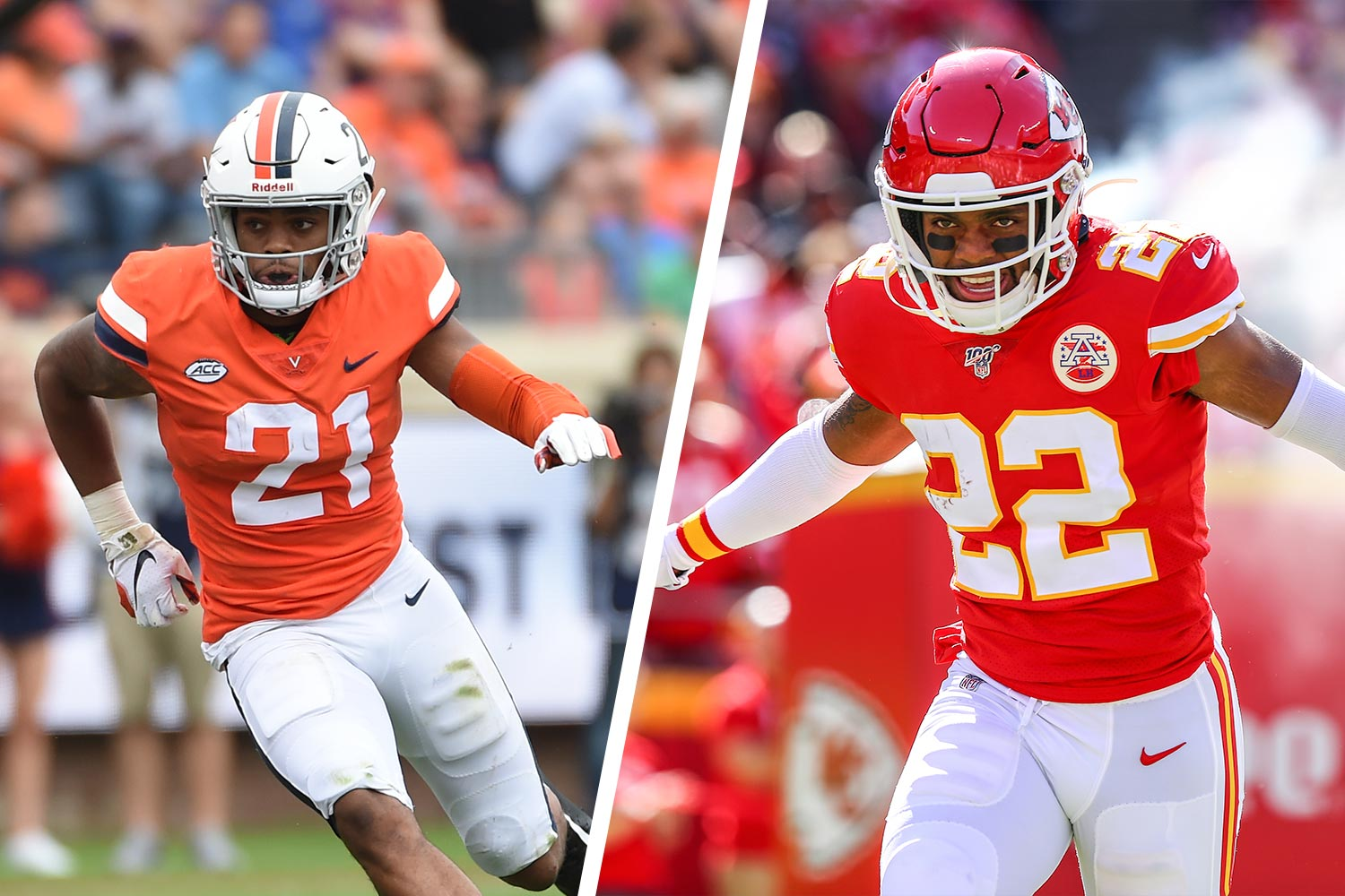 After missing last season's Super Bowl due to a knee injury, former UVA football star Juan Thornhill gets another crack at it on Sunday. (Photos courtesy Steve Sanders, Kansas City Chiefs and UVA Athletics)
