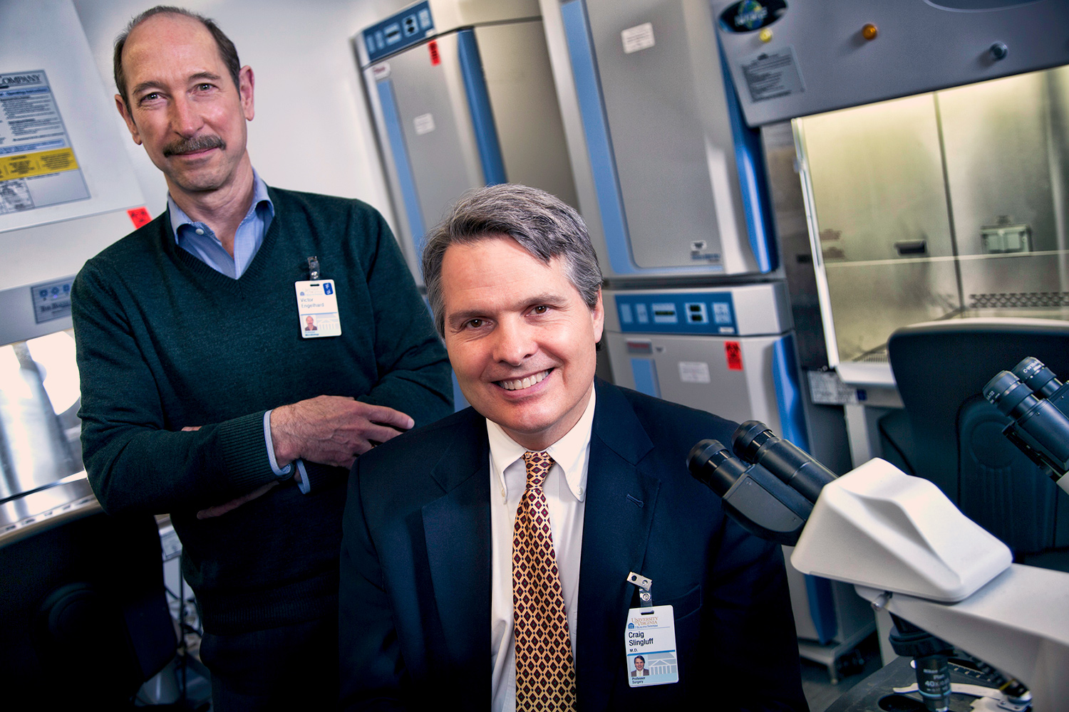 Victor H. Engelhard, left, director of the Beirne Carter Center for Immunology Research, and his research collaborator on the melanoma vaccine, Dr. Craig L. Slingluff Jr. of the UVA Cancer Center. (Photo by Jackson Smith, UVA Health System)