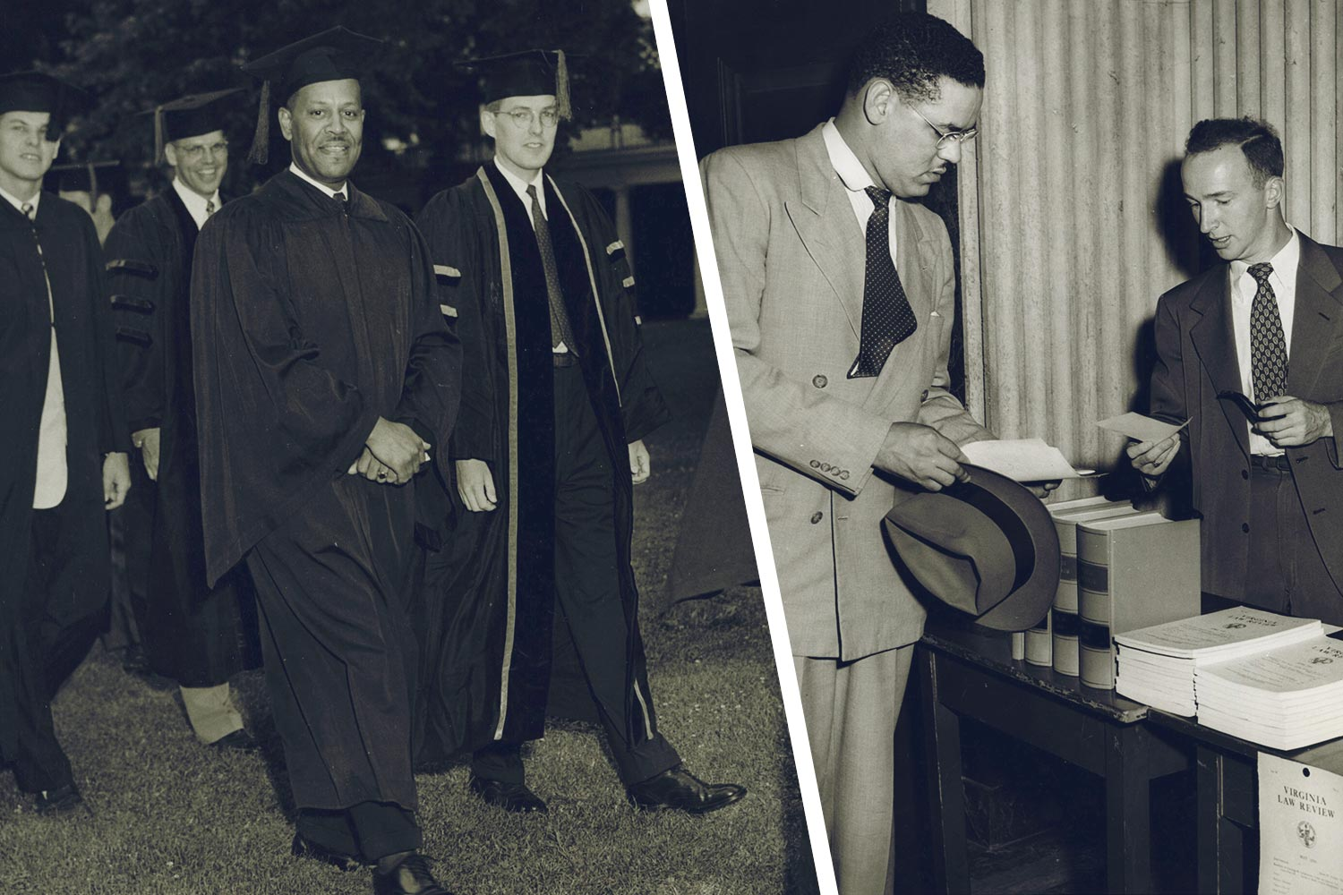 Walter Ridley, left, was UVA's first African-American graduate, earning a doctorate of education in 1953. Gregory Swanson sued to become UVA's first African-American law student.
