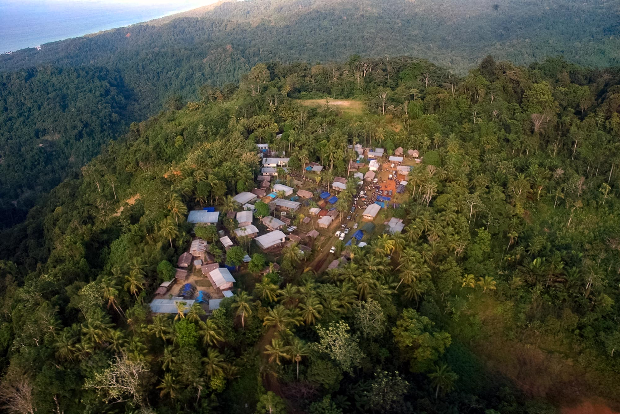 With its metal roofs on buildings, the village of Wautogik is relatively well-off for Papua New Guinea, according to anthropologist Lise Dobrin. (Photo courtesy of Lise Dobrin)
