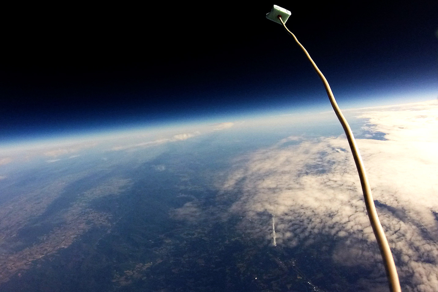 A view from a camera aboard the payload of the high-altitude weather balloon.