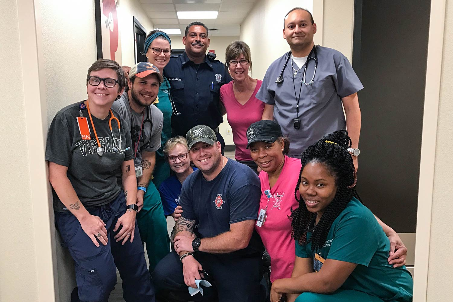 Ashley Apple, far left, and some of those helping in the aftermath of Hurricane Harvey.