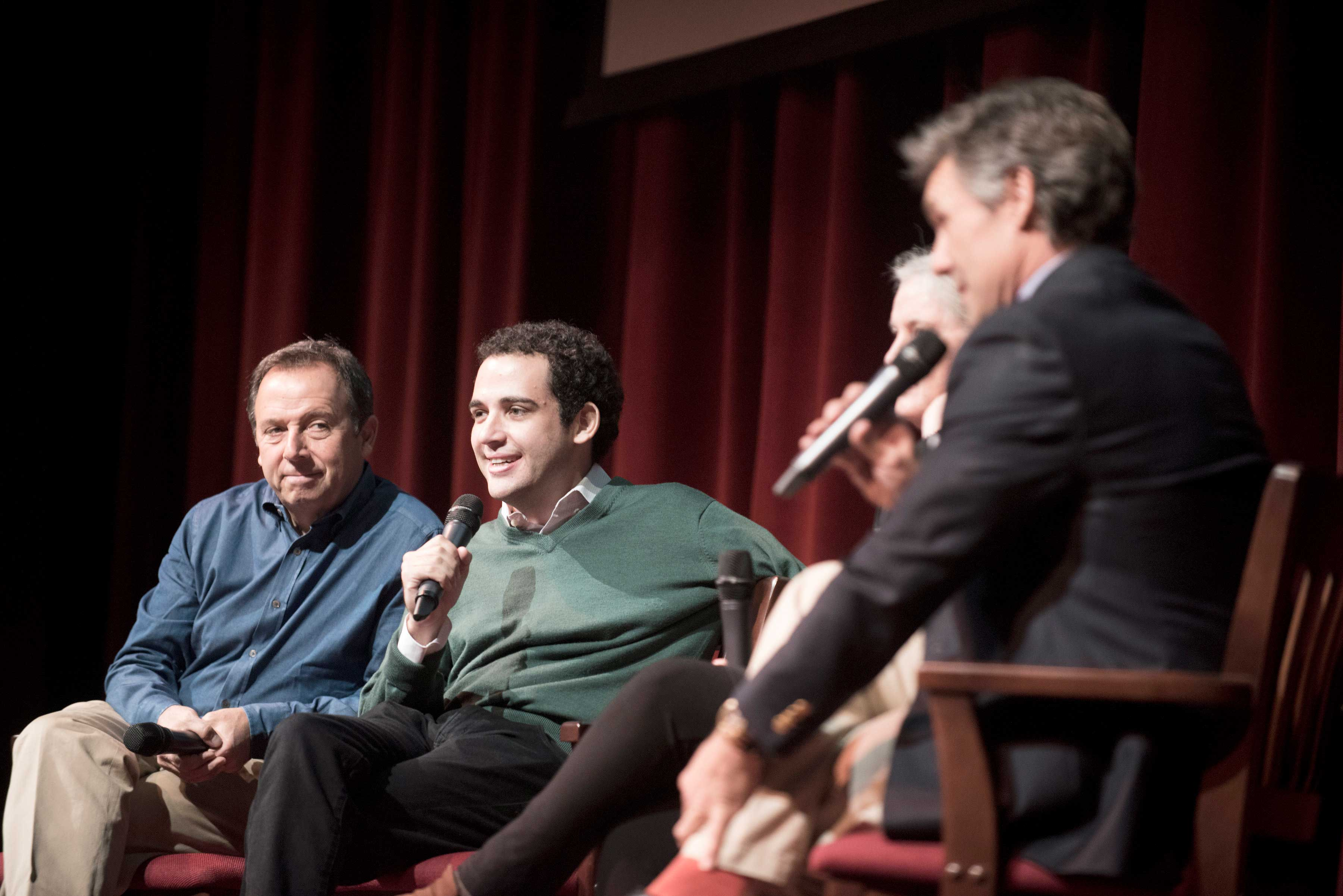 "Suskind, left, and his son Owen spoke with the audience after screening ""Life Animated"" at the Virginia Film Festival. (Photo by Ashley Twiggs)"