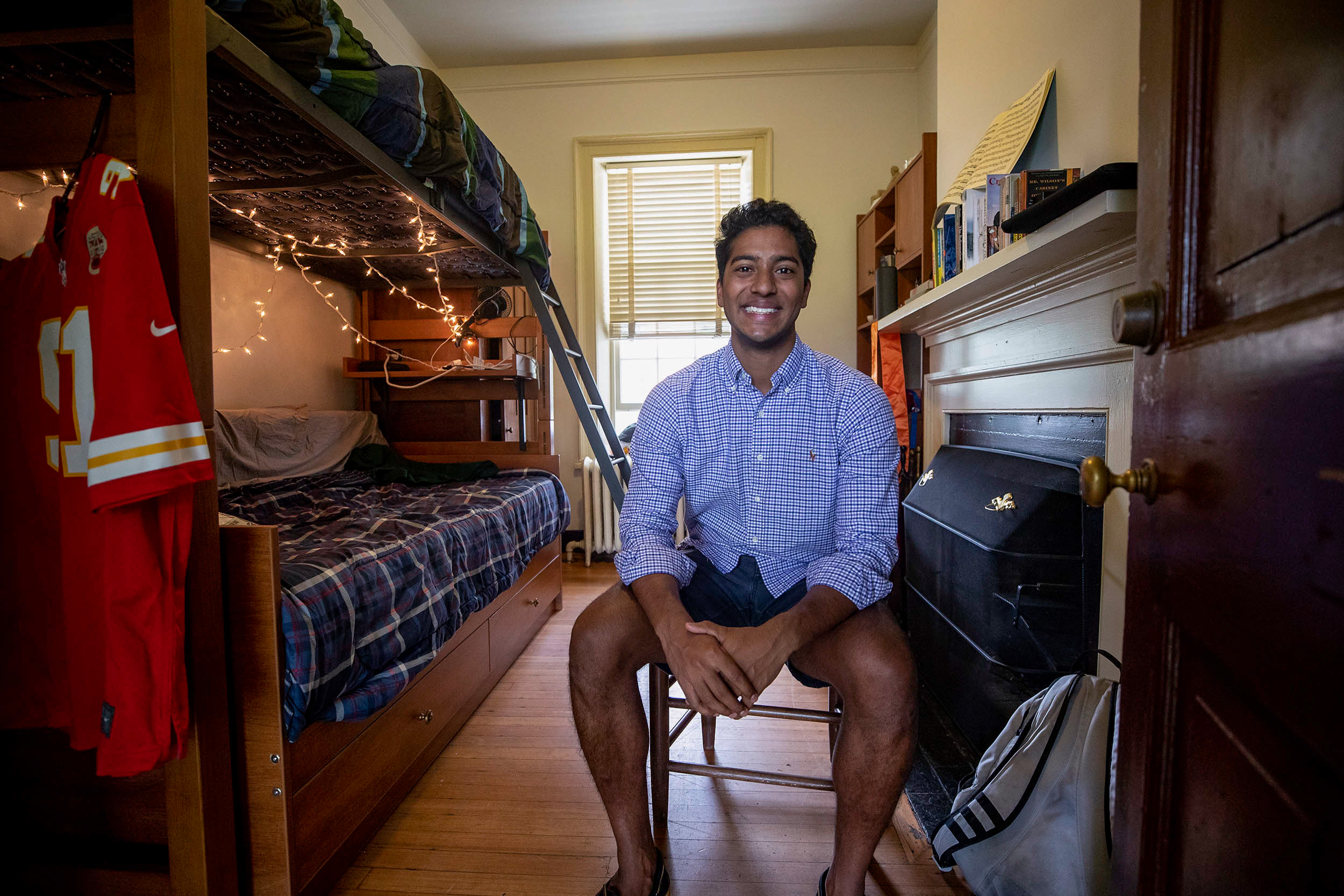 """Samuel is pictured last August soon after moving into his West Lawn room on """"Bachelor' Row,"""" a string of small rooms south of Pavilion VII."""