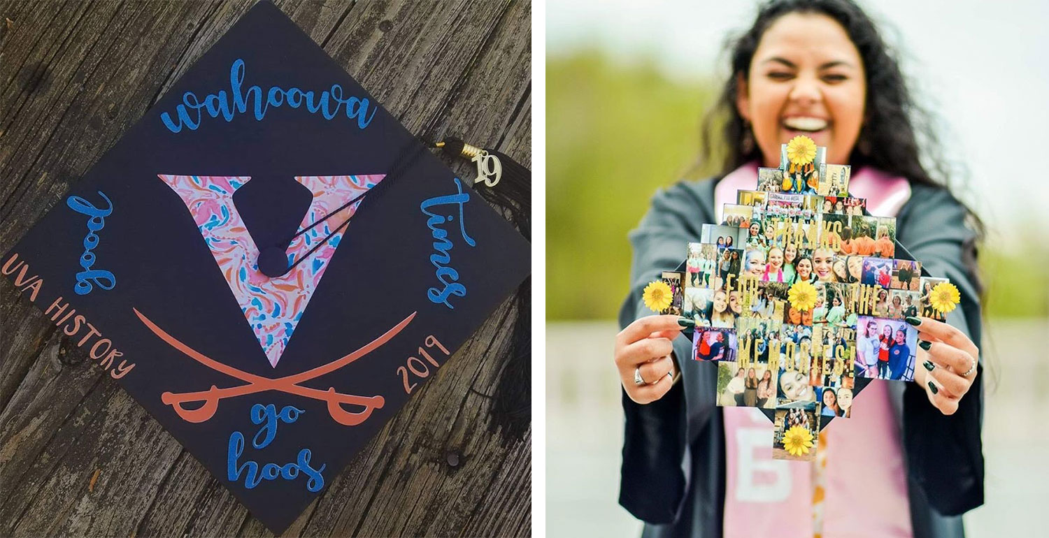Audrey Hibdon used one of UVA's Maker Spaces to create her cap, left, while Harmanjit Tiwana filled hers with favorite photos.