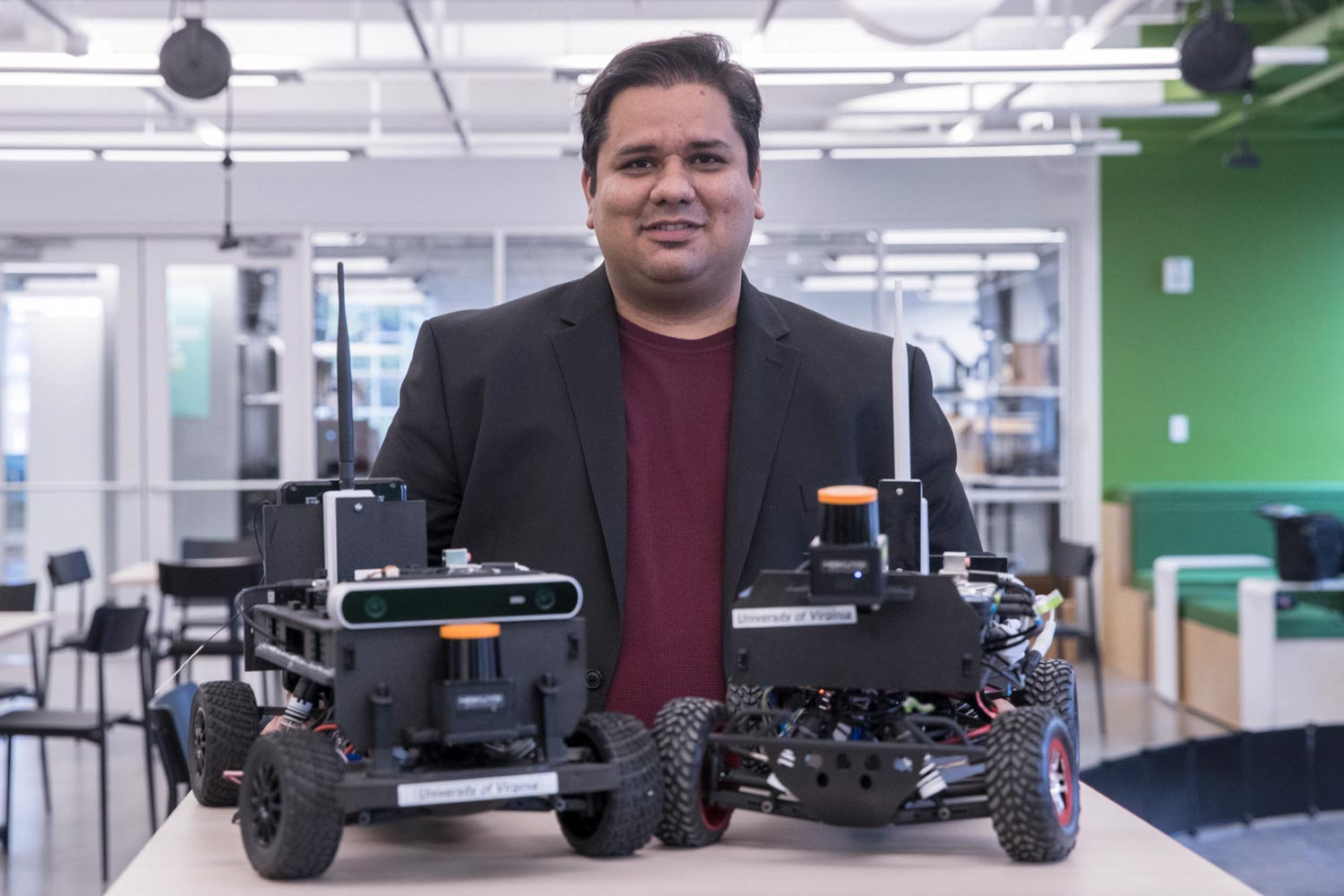 Behl is using 1/10-scale models to optimize control systems for translation to full-sized autonomous cars.