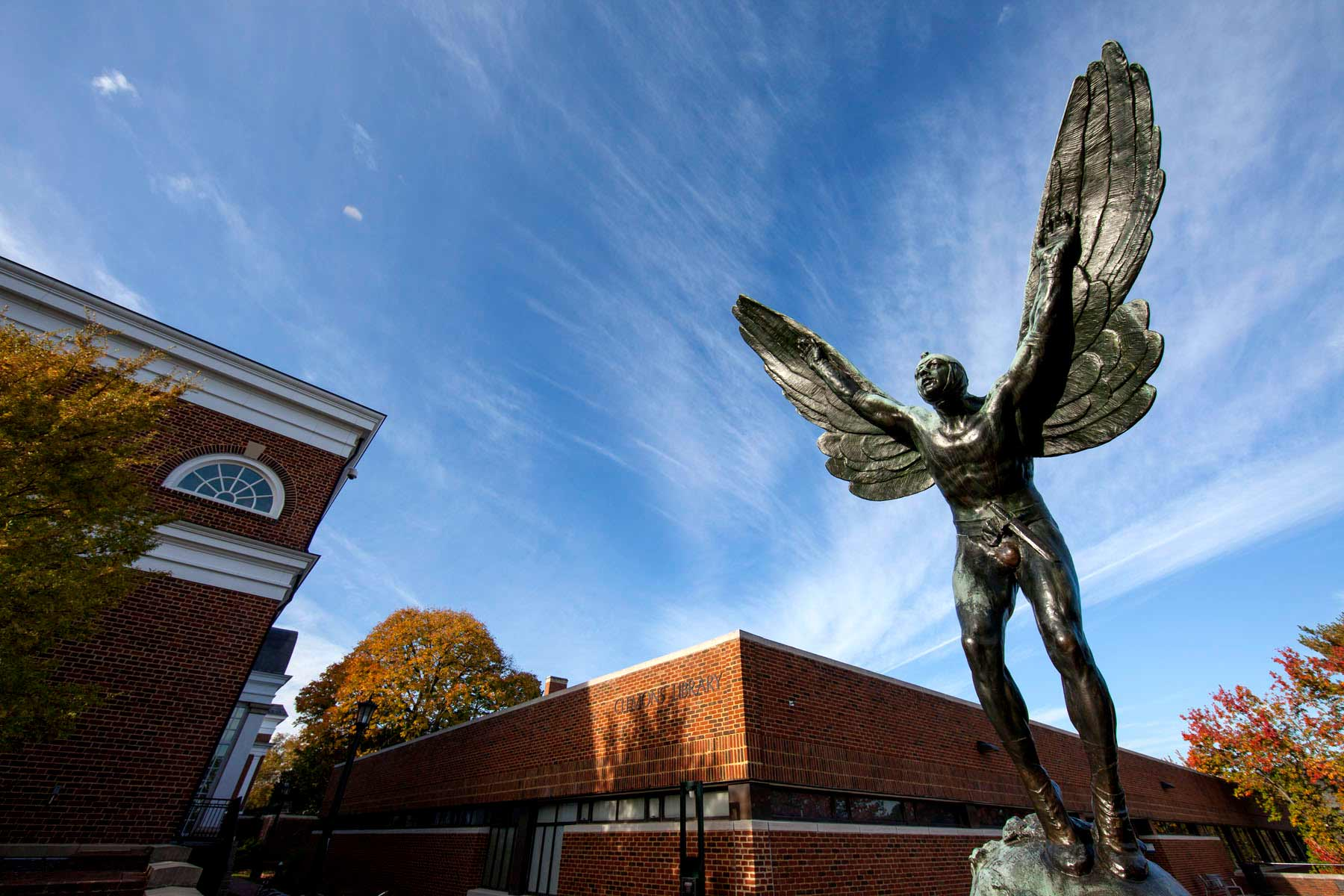 """The Aviator,"" which currently resides in the plaza of Clemons Library, is a tribute to James McConnell, a pilot shot down over France in World War I. (Photo by Dan Addison, University Communications)"