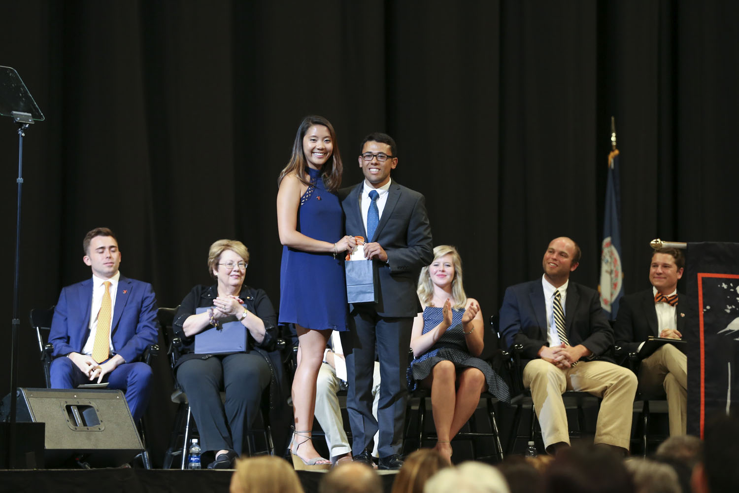 The Class of 2017, represented by trustee Ngan K. Pham, presented its Diamond Award to first-generation college student Mario J. Sukkar.