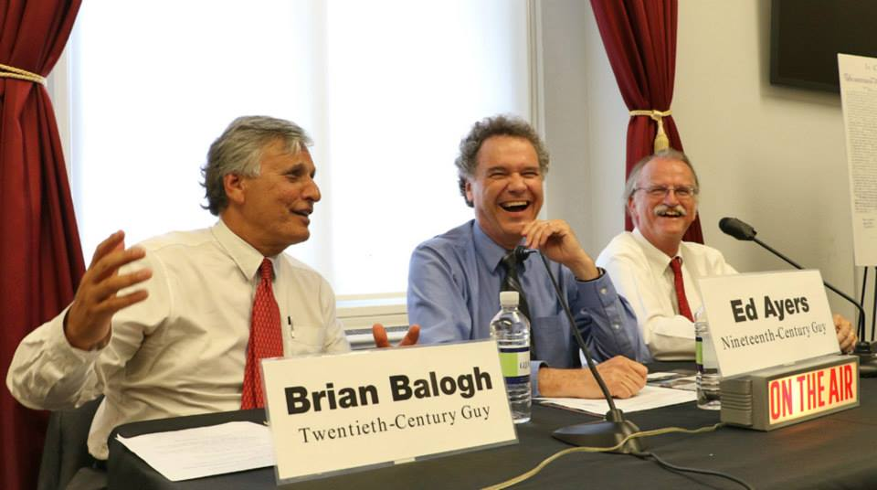 """BackStory"" contributors, from left, Brian Balogh, Ed Ayers and Peter Onuf tackle intriguing topics from history in their regular radio show. Photo credit: Chris Flynn / NEH"