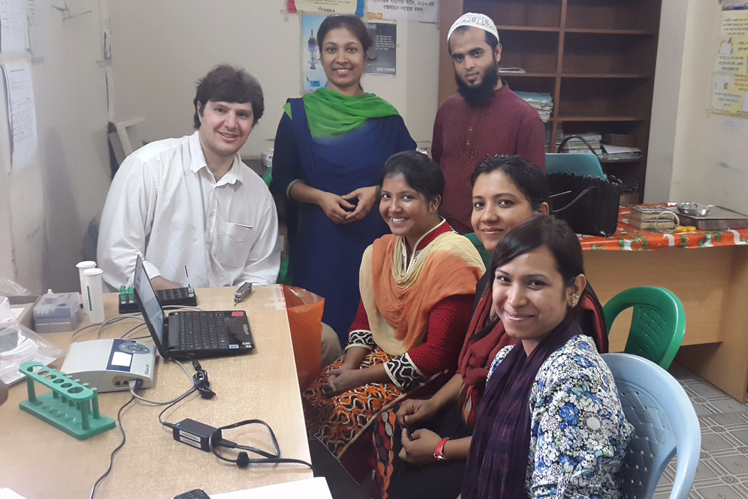 Dr. Jeff Donowitz, left, with colleagues in Bangladesh.
