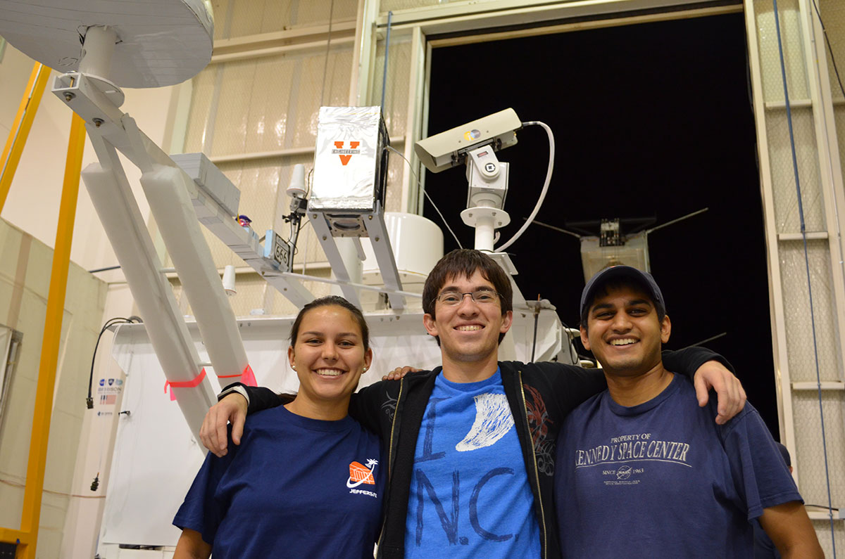 Mechanical and aerospace engineering students Emily Snavely, Patrick Van Dam and Chandrakanth Venigalla have been analyzing data collected in October during an eight hour high-altitude balloon flight.