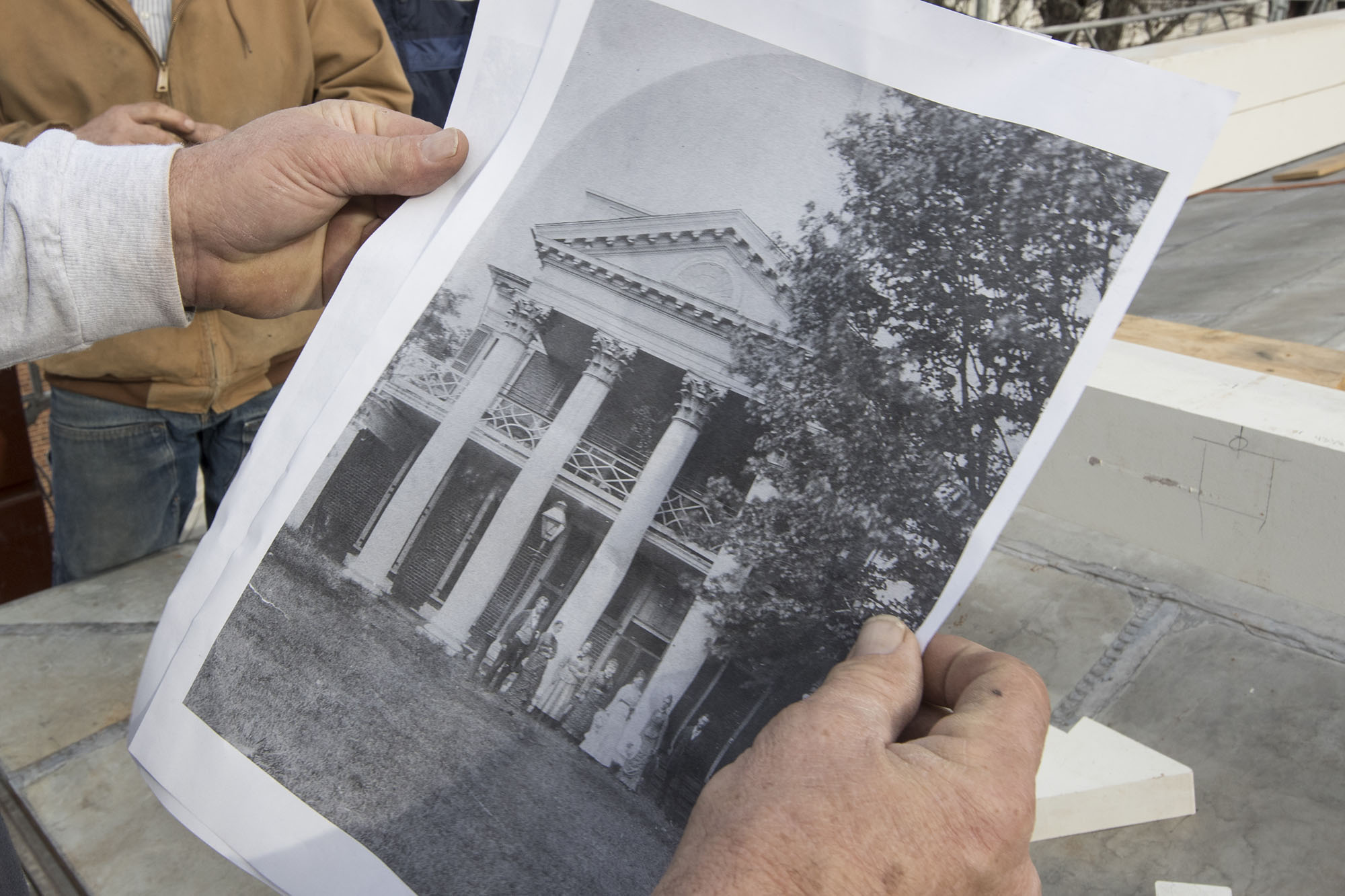 Architectural drawings, accounting memos and historic photographs bolster physical evidence found under the pavilion's roof and in its attic that a balustrade was once installed on the roof.
