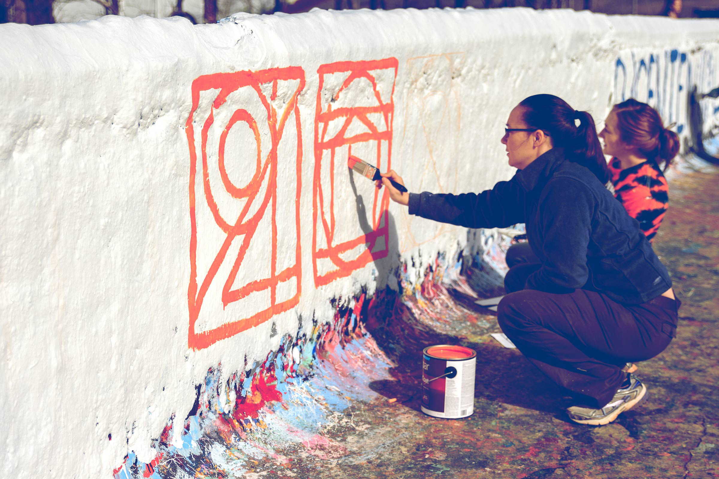 Students painted the design on Beta Bridge in February after it was selected by popular vote.