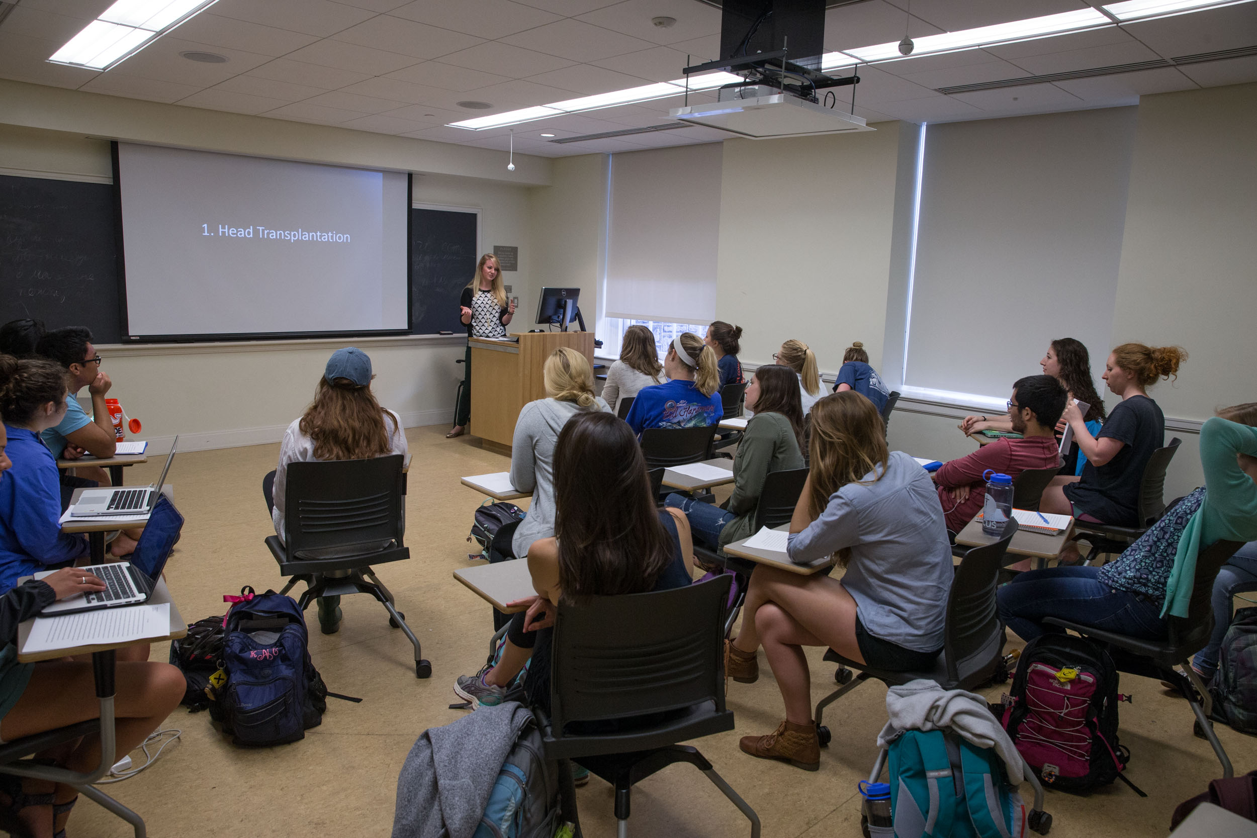 Bruno teaches an undergraduate seminar on the ethics of organ transplantation.