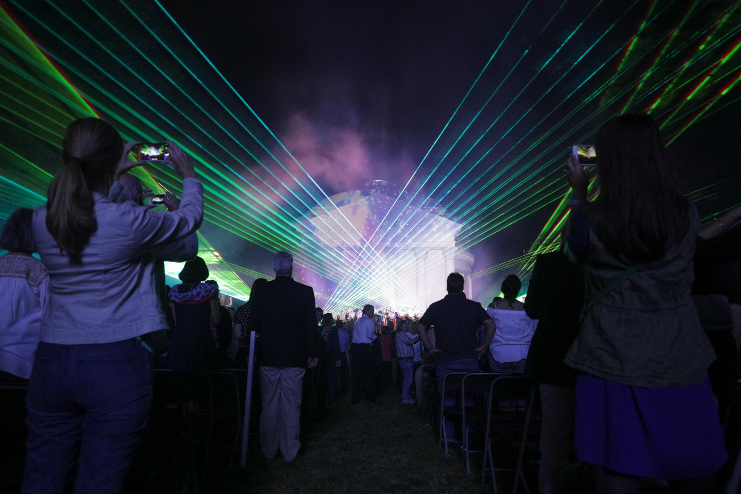 The Bicentennial Launch Celebration in 2017 included an impressive light show. (Photo by Sanjay Suchak, University Communications)