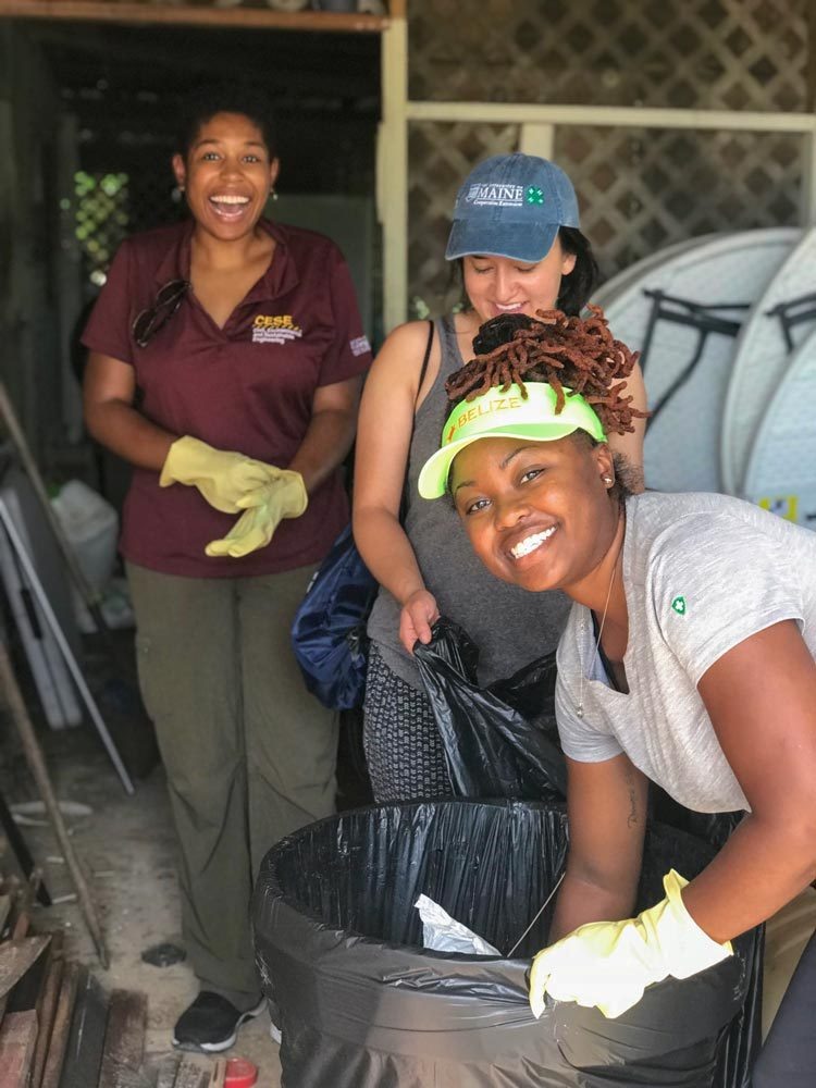 Morton, left; Barbara Astmann, center, a graduate student at UVA; and Hobbs work on the digester project in Belize.