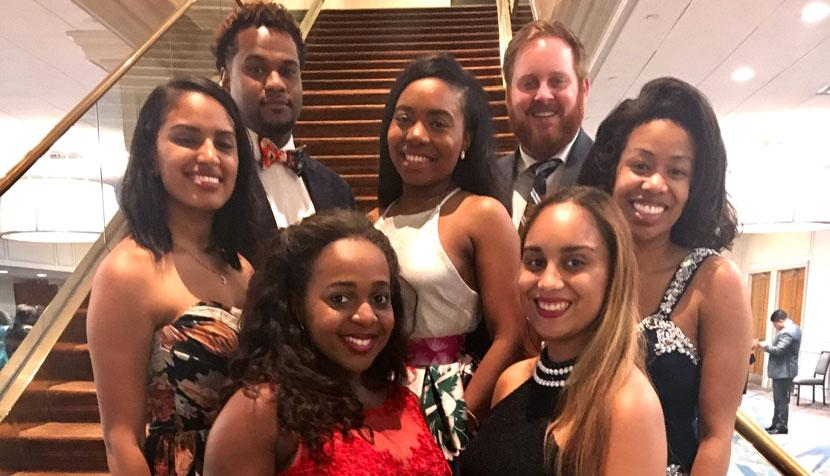 Members of UVA's Black Law Students Association chapter include, left to right, Marwa Abdelaziz, Steven Morris, Deitra Jones, Charis Redmond, Jeremy Lofthouse, Nel-Sylvia Guzman and Keyawna Griffith.