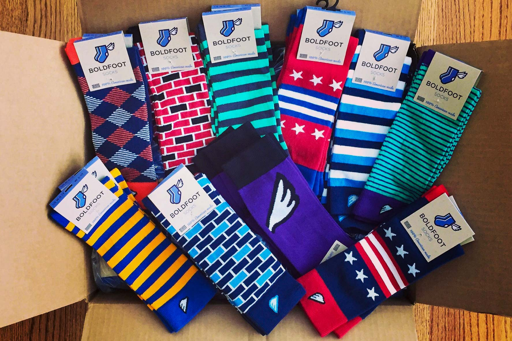 Christmann designs the socks himself, focusing on bright, colorful patterns that will stand out. (Photo courtesy of Brad Christmann)