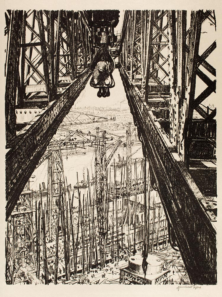 Muirhead Bone: Building Ships: A Shipyard Seen from a Big Crane (from THE GREAT WAR: Britain's Efforts and Ideals), ca. 1917. Lithograph, promised gift of Frank Raysor. © Virginia Museum of Fine Arts