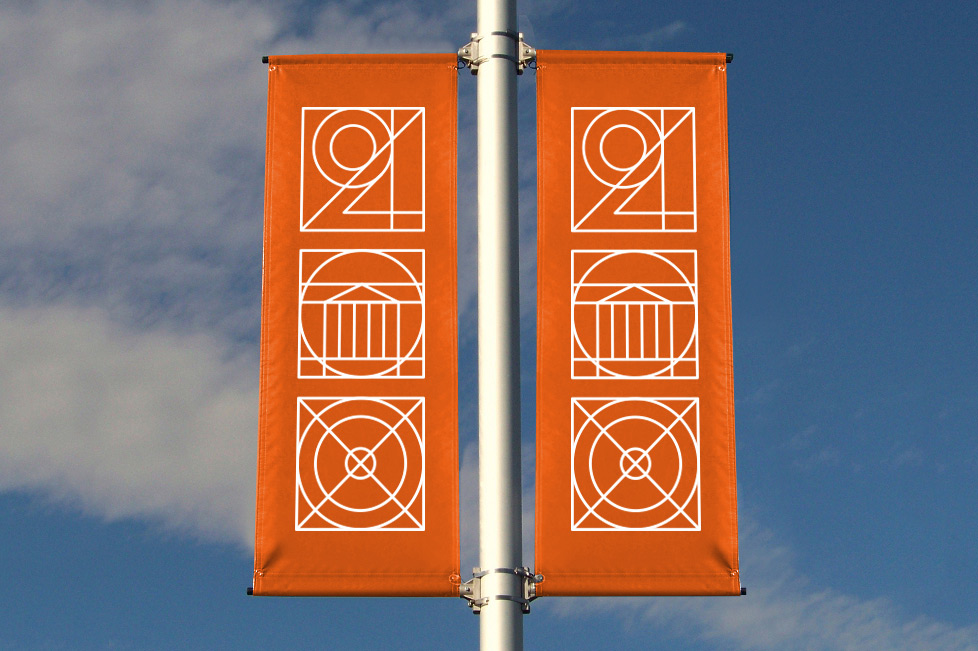 The mark may appear in pageantry, banners or other celebratory signage on Grounds during the bicentennial.
