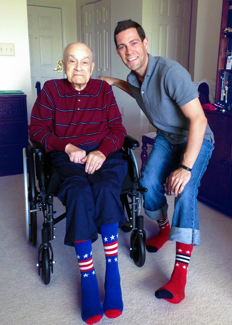 Christmann with his grandfather, the World War II veteran who inspired his mission to give back to veterans' organizations. (Photo courtesy of Brad Christmann)