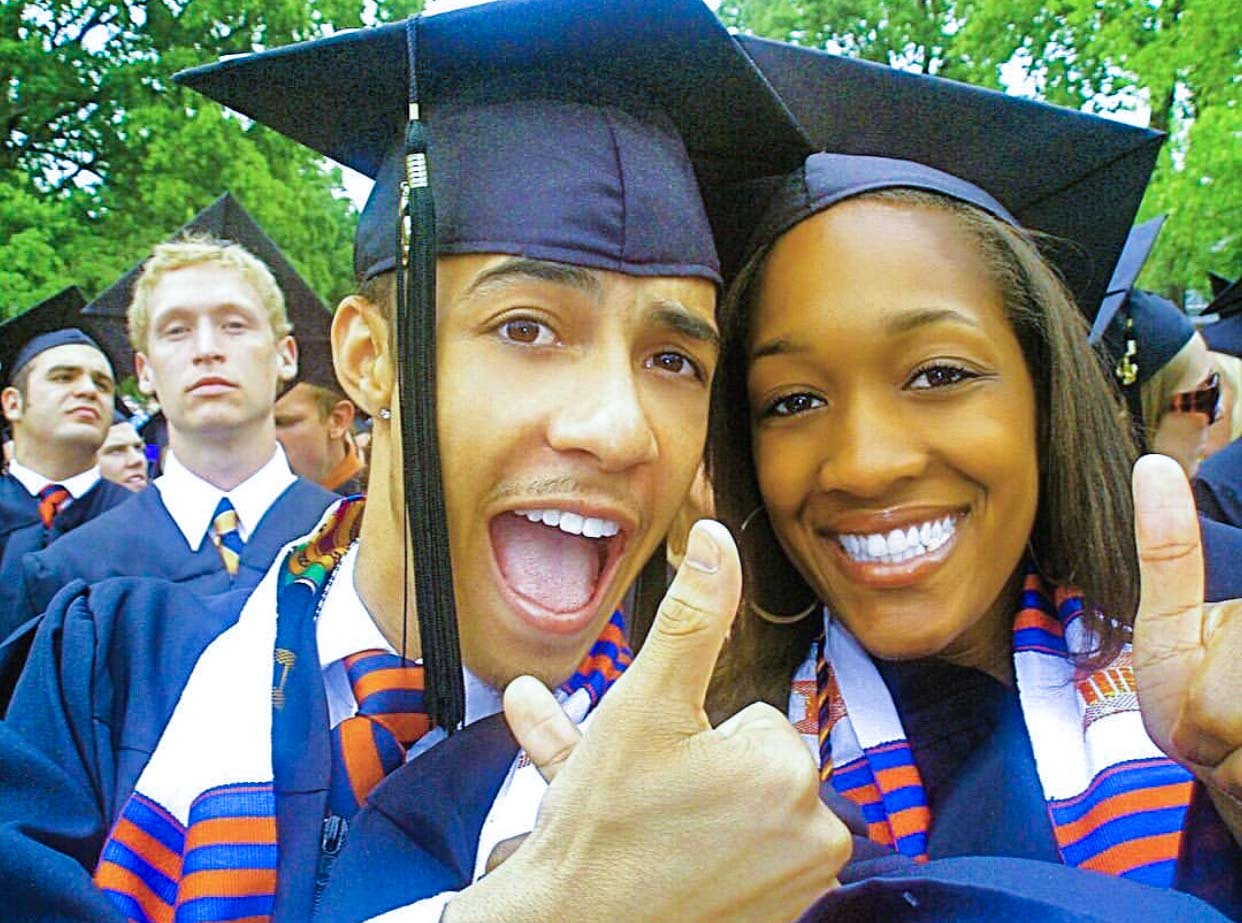 Rogers at his UVA graduation with his friend and former roommate Nicole Hyman. (Photo courtesy of Nicole Hyman)