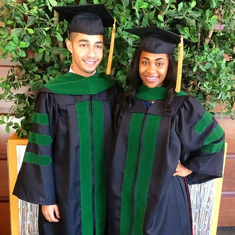 Rogers with close friend and fellow UVA graduate Dr. Elizabeth Johnson on the day they graduated from medical school in 2015. (Photo courtesy of Elizabeth Johnson)