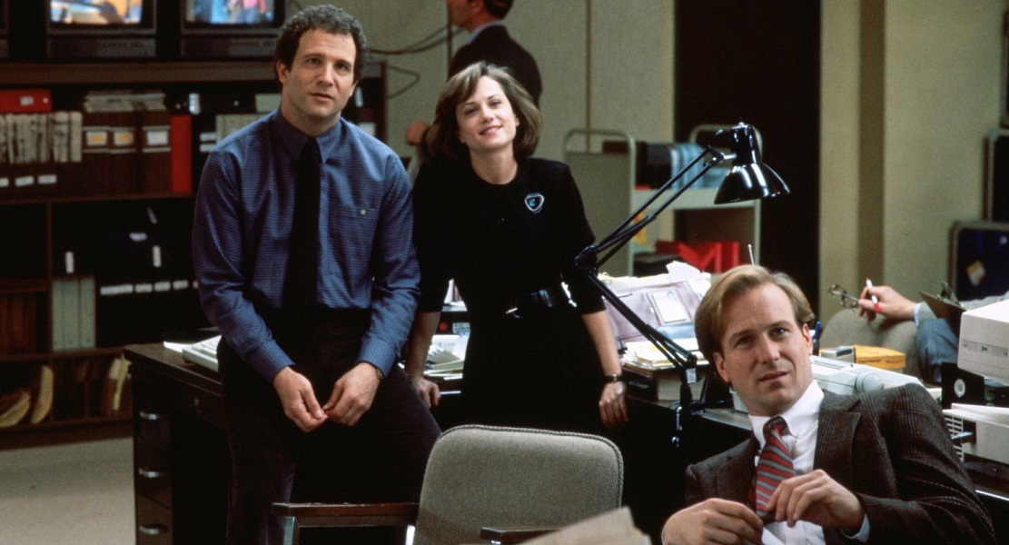 """Broadcast News"" is a romantic comedy following three media workaholics played by Albert Brooks, Holly Hunter and William Hurt."