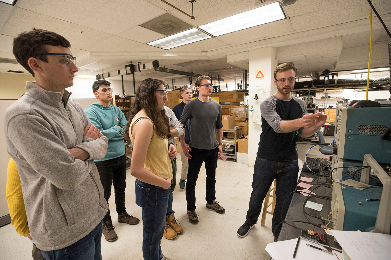 Chemistry graduate student Channing West is leading Pate's undergraduate physical chemistry course, which is developing analysis techniques for peach brandy.