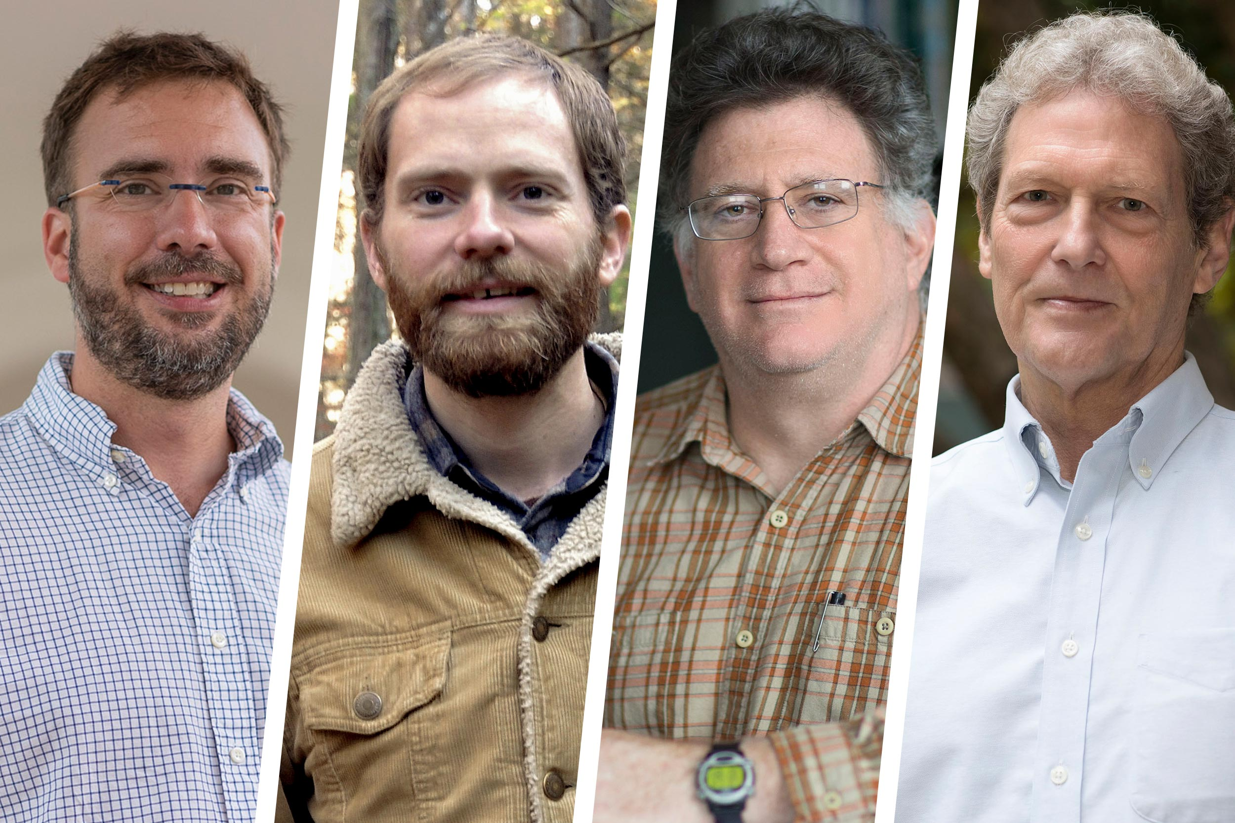 Professors Bryan Berger, Ryan Huish, Manuel Lerdau and Michael Timko will seek to develop niche markets for Appalachia's unique natural resources. (Photos by Sanjay Suchak, Dan Addison, contributed)