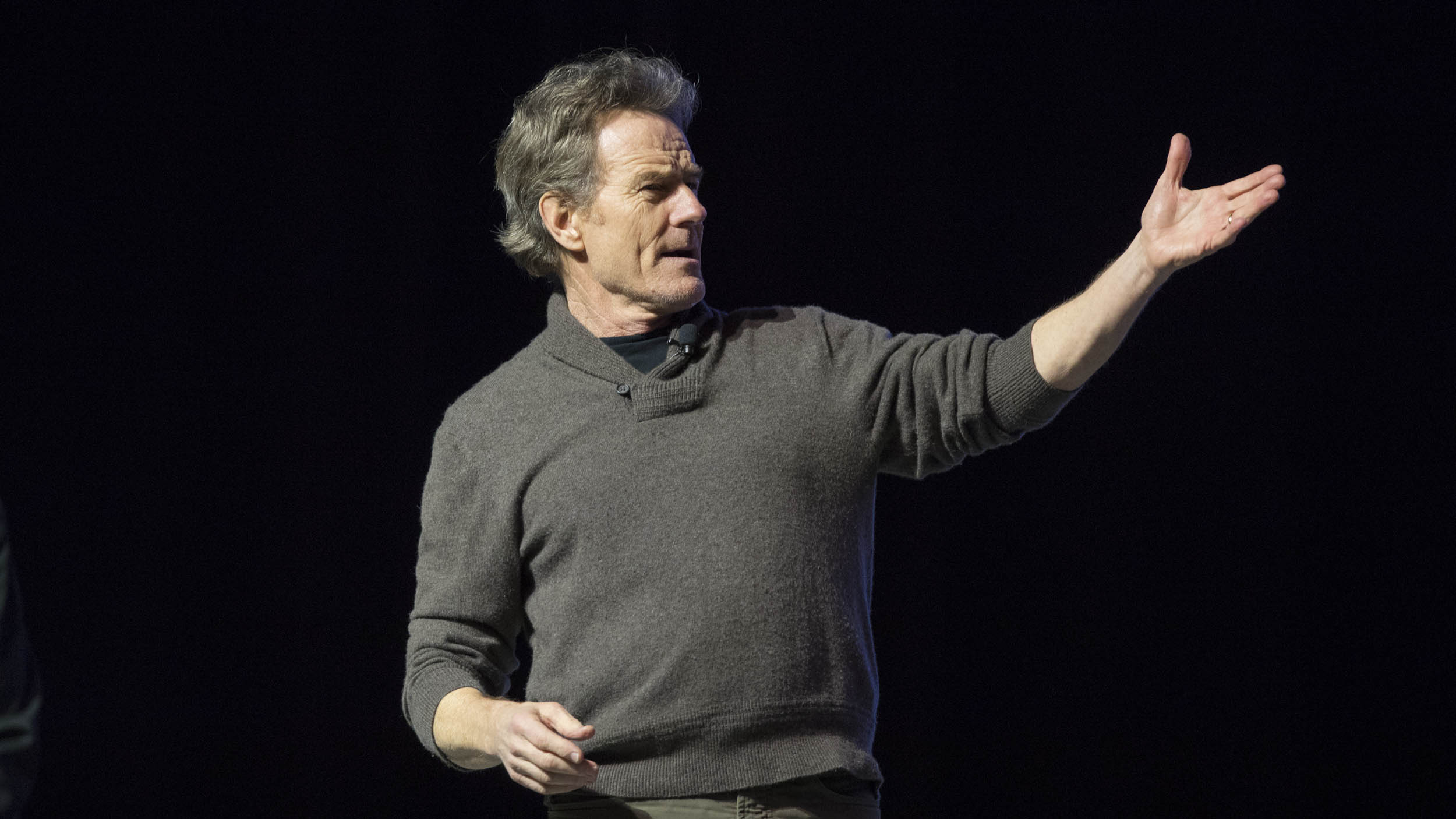 "Cranston drew an appreciative crowd to John Paul Jones Arena, where he spoke about everything from his troubled childhood to how he almost missed his signature ""Breaking Bad"" role. (Photo by Sanjay Suchak, University Communications)"