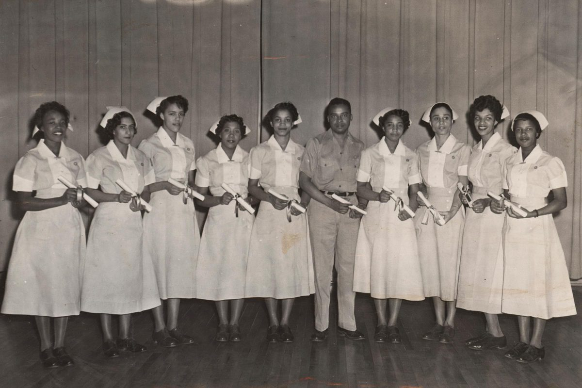 Clariece Coles, far right, with her 1956 LPN graduating class.