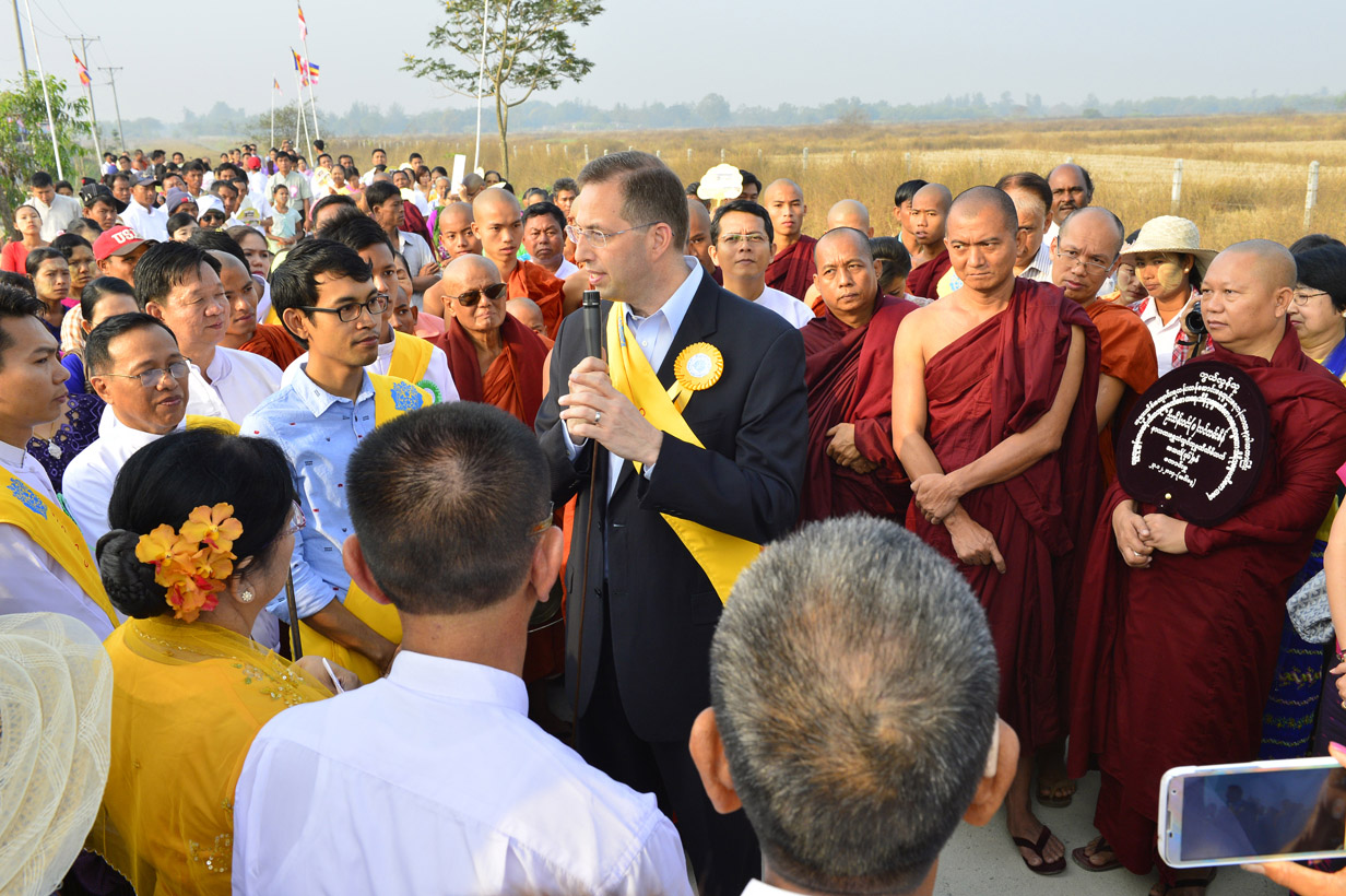 """It is a high calling, and an enormous challenge to do well, which makes the job even more appealing to me,"" said Mitchell, pictured here attending the opening ceremony for Buddhist school Sitagu Sotujana University outside of Rangoon, Burma, February 2015"